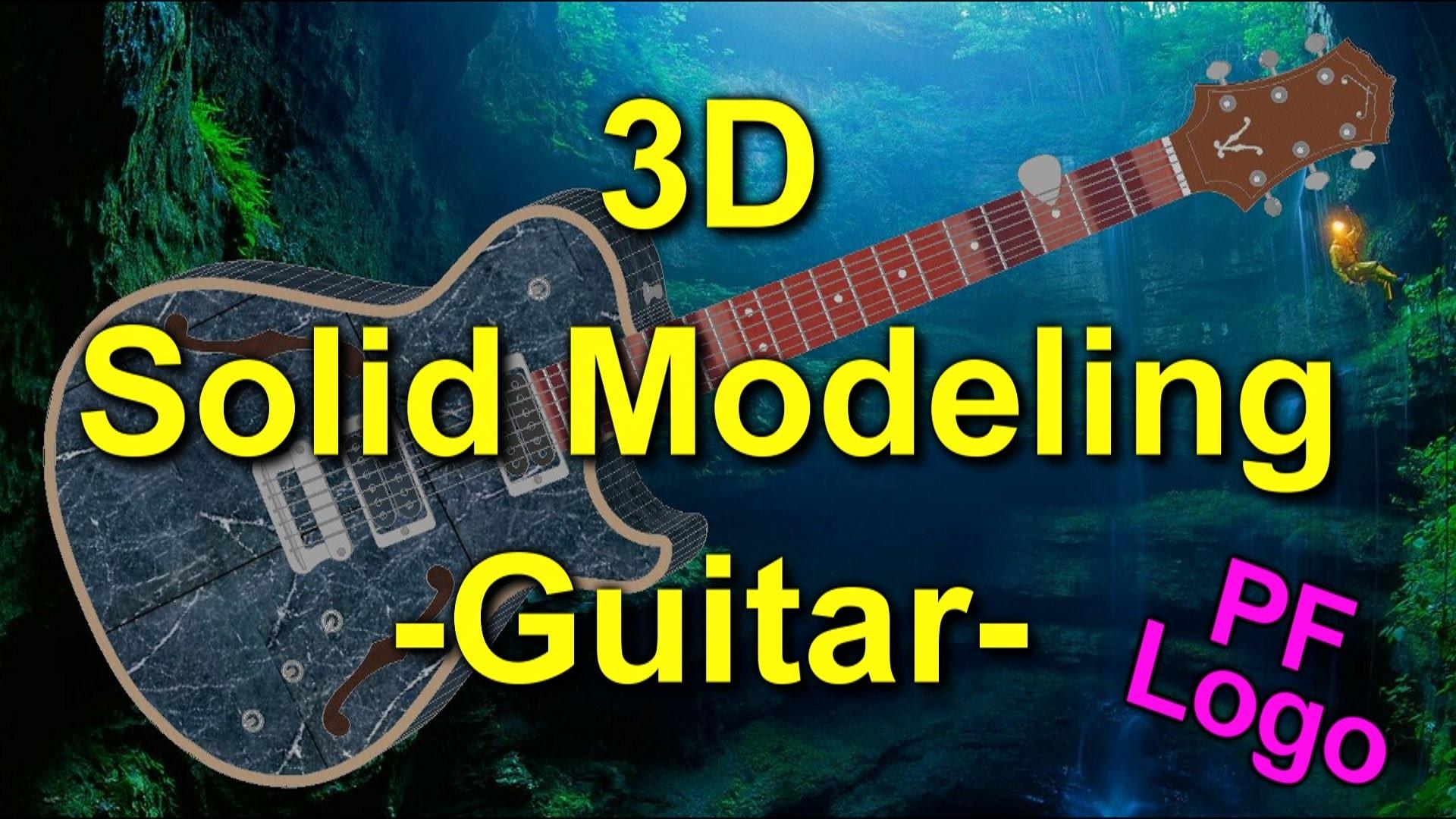 AutoCad 3D: Guitar & Pink Floyd Logo