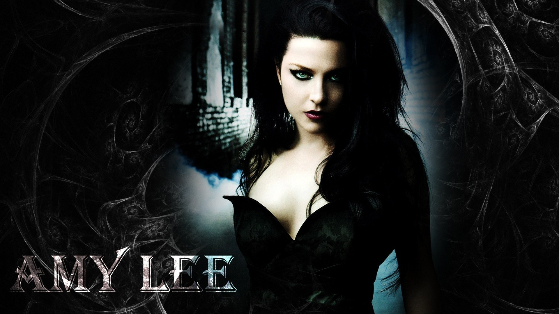 Preview wallpaper evanescence, girl, dress, name, graphics 1920×1080