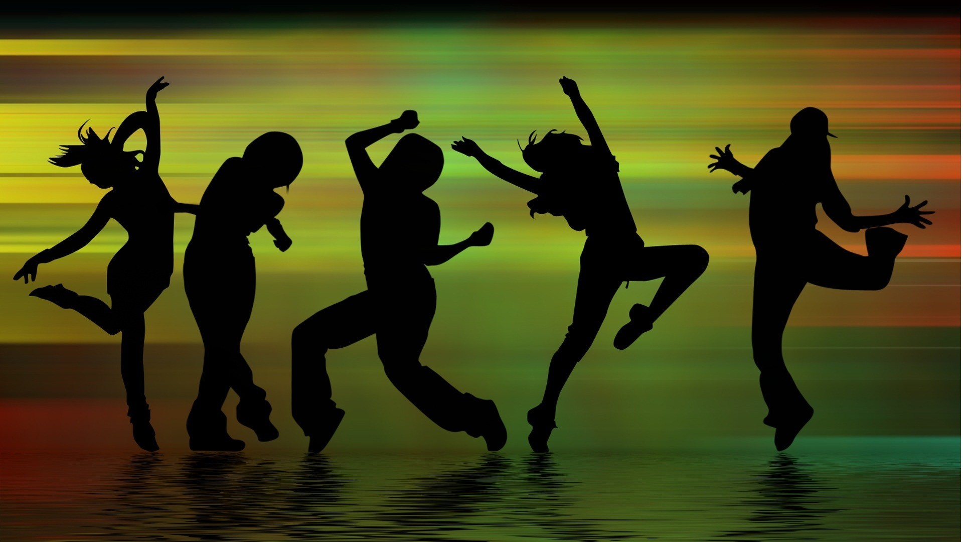 Download wallpaper music, dancing, Silhouettes, figures free desktop  wallpaper in the resolution 1920×1080