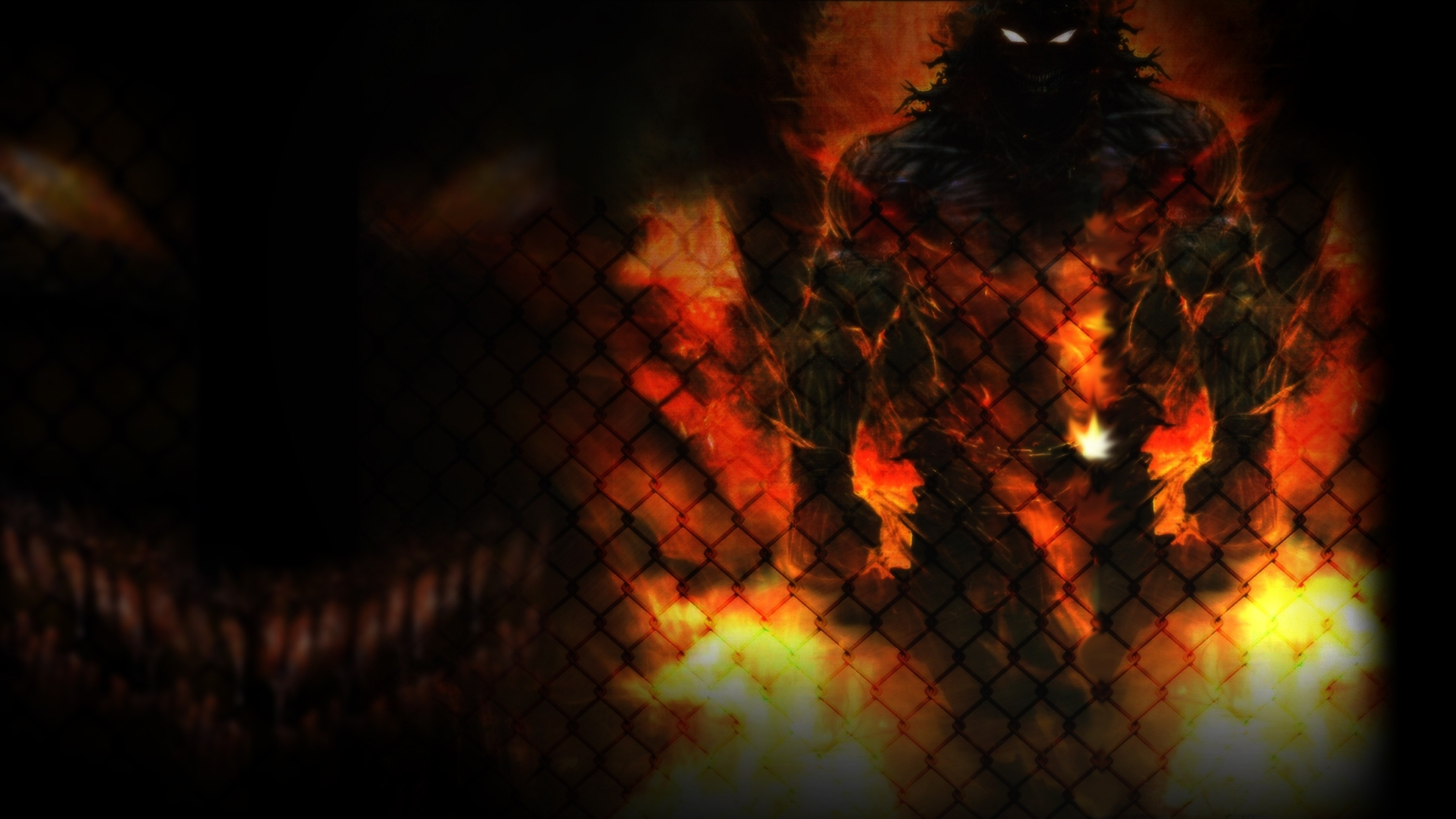 Wallpaper disturbed, monster, animal, fire, net