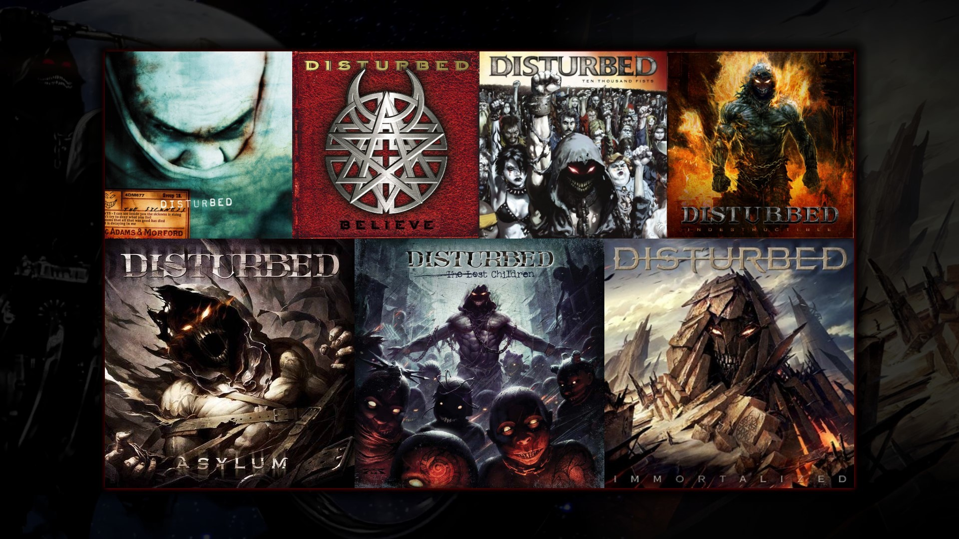 I just made this Disturbed discography wallpaper, thought I'd share  [1920×1080] …