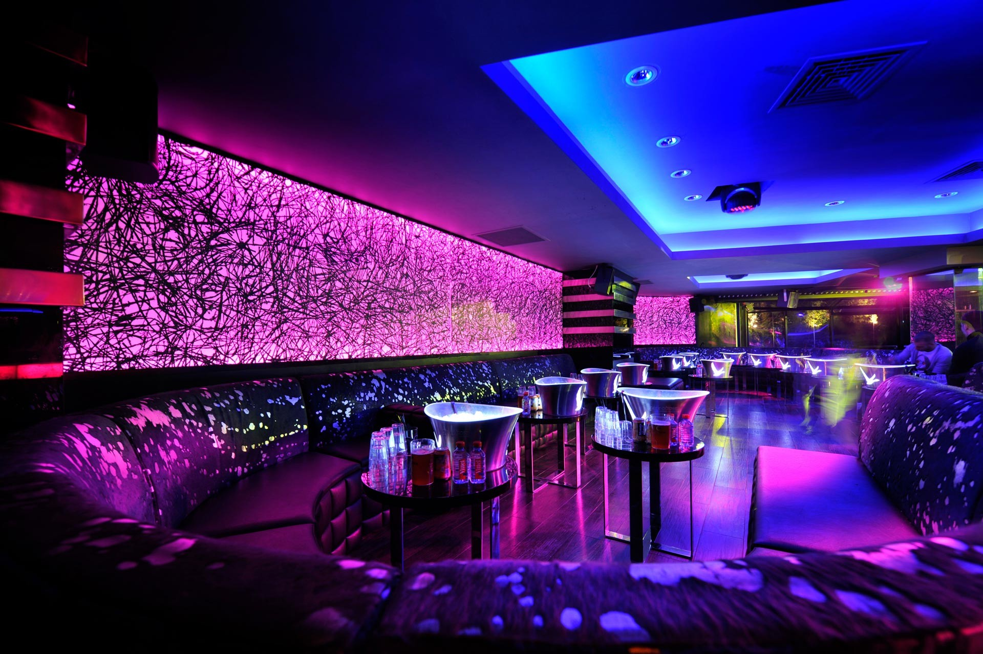 Wonderful Neon Lights In A Night Club Lounge HD Desktop Background wallpaper  free