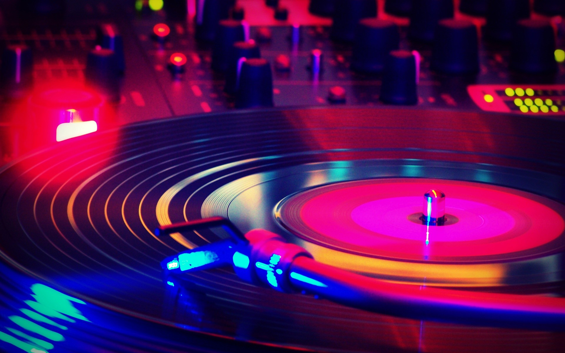 disco vinyl nights colorful turntable record spinning fast on music desktop  wallpaper music and dance wallpapers