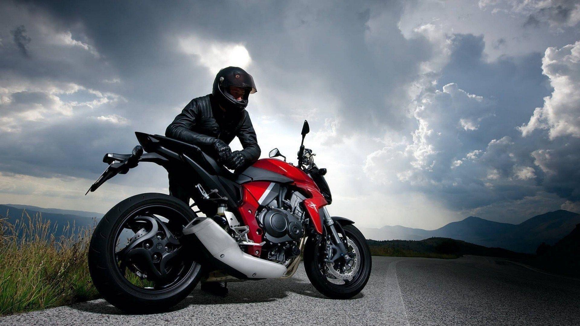 biker black suit honda cb1000r cloudy sky wide hd wallpaper – WPWide