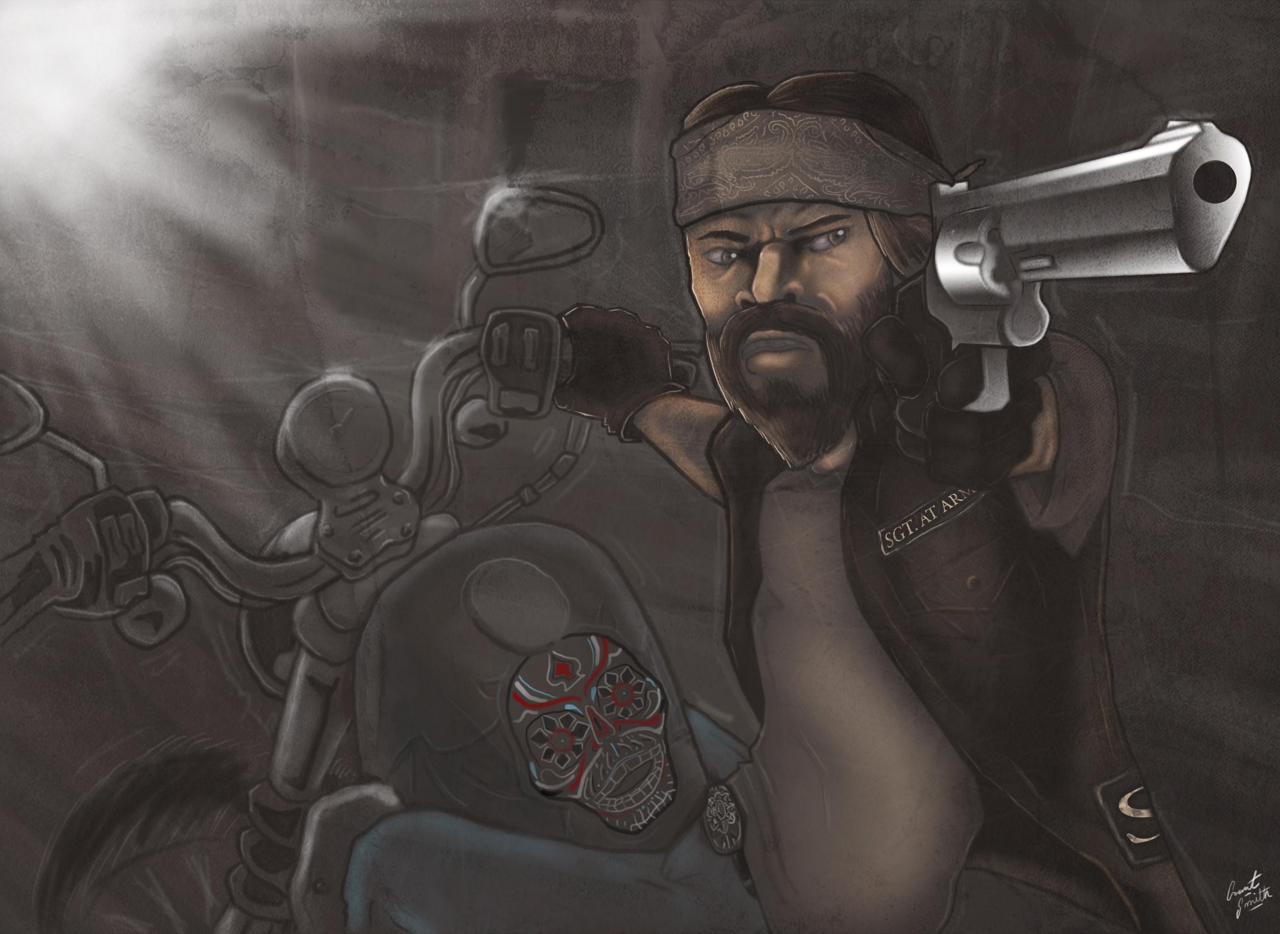 Outlaw Biker Digital Painting | theartofgronith