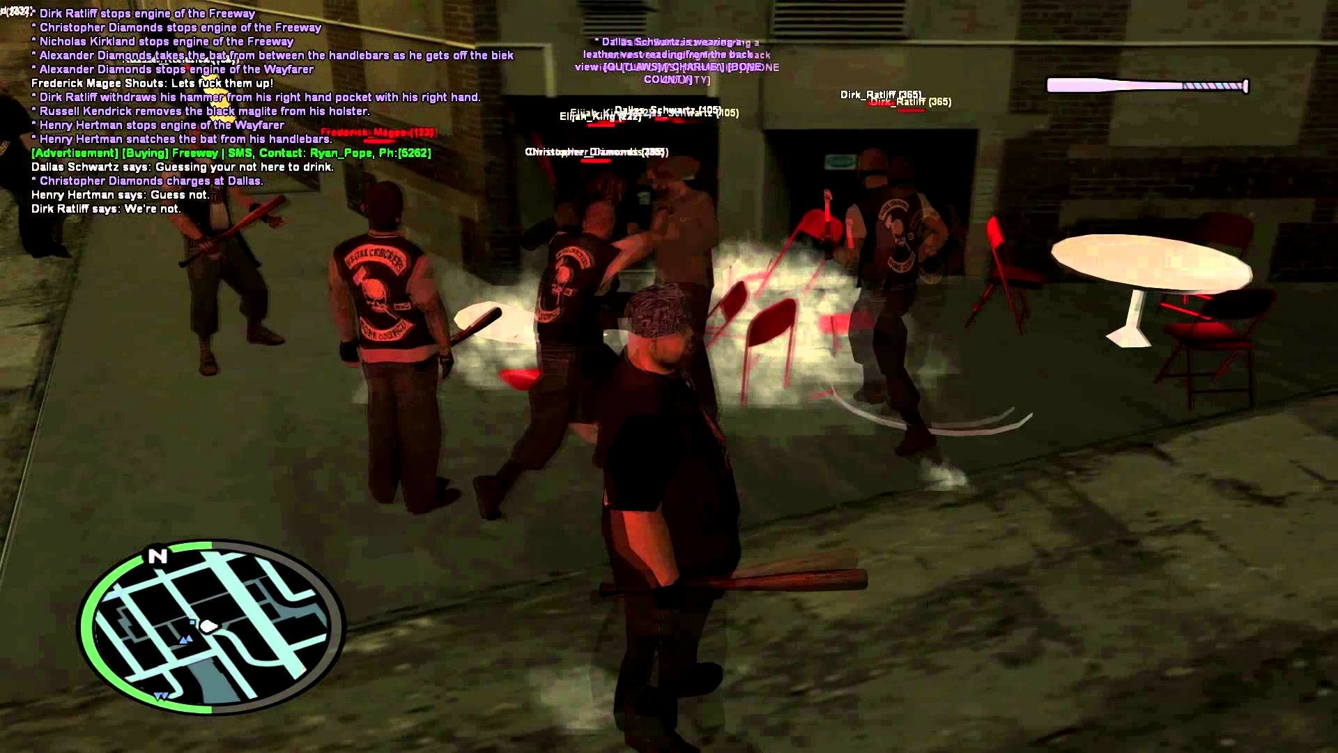 Skull Crackers MC brawling Outlaws MC at their own bar