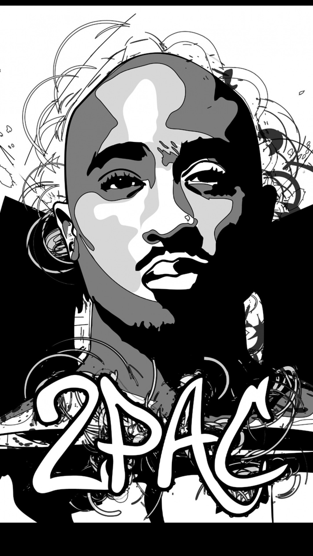 2Pac download wallpaper for iPhone