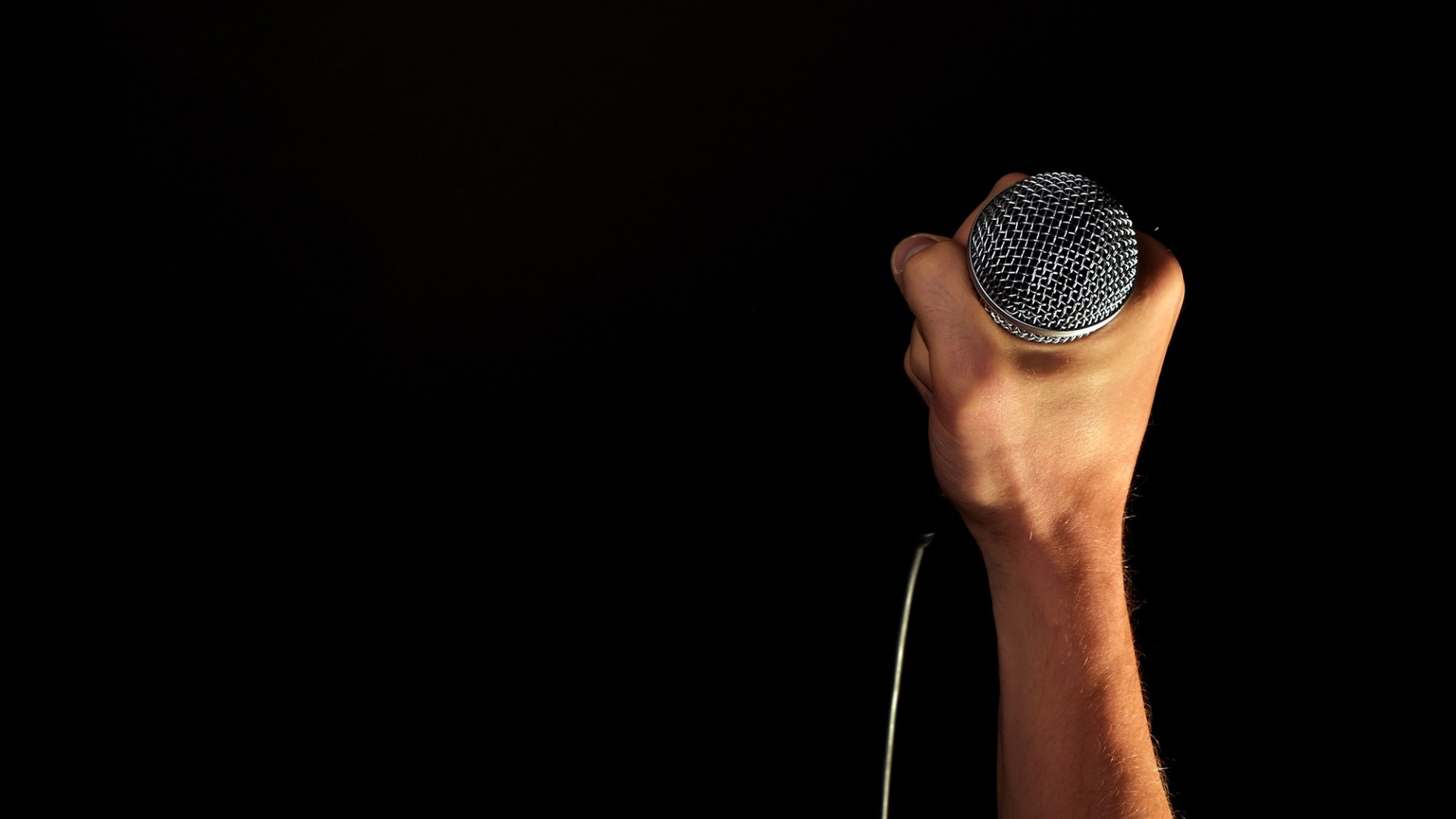 Preview wallpaper microphone, arm, black background 1920×1080