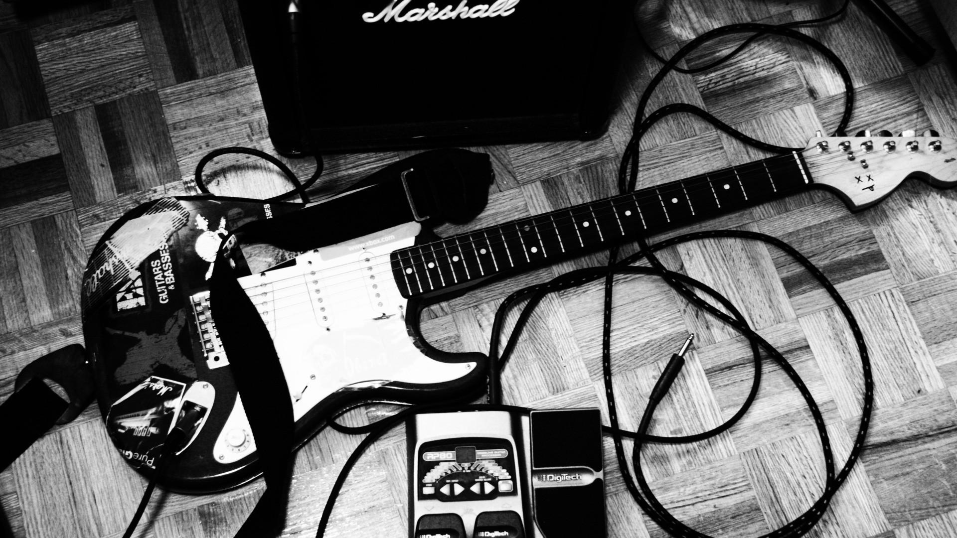 entertainment music guitars black white amp strings tech wallpaper