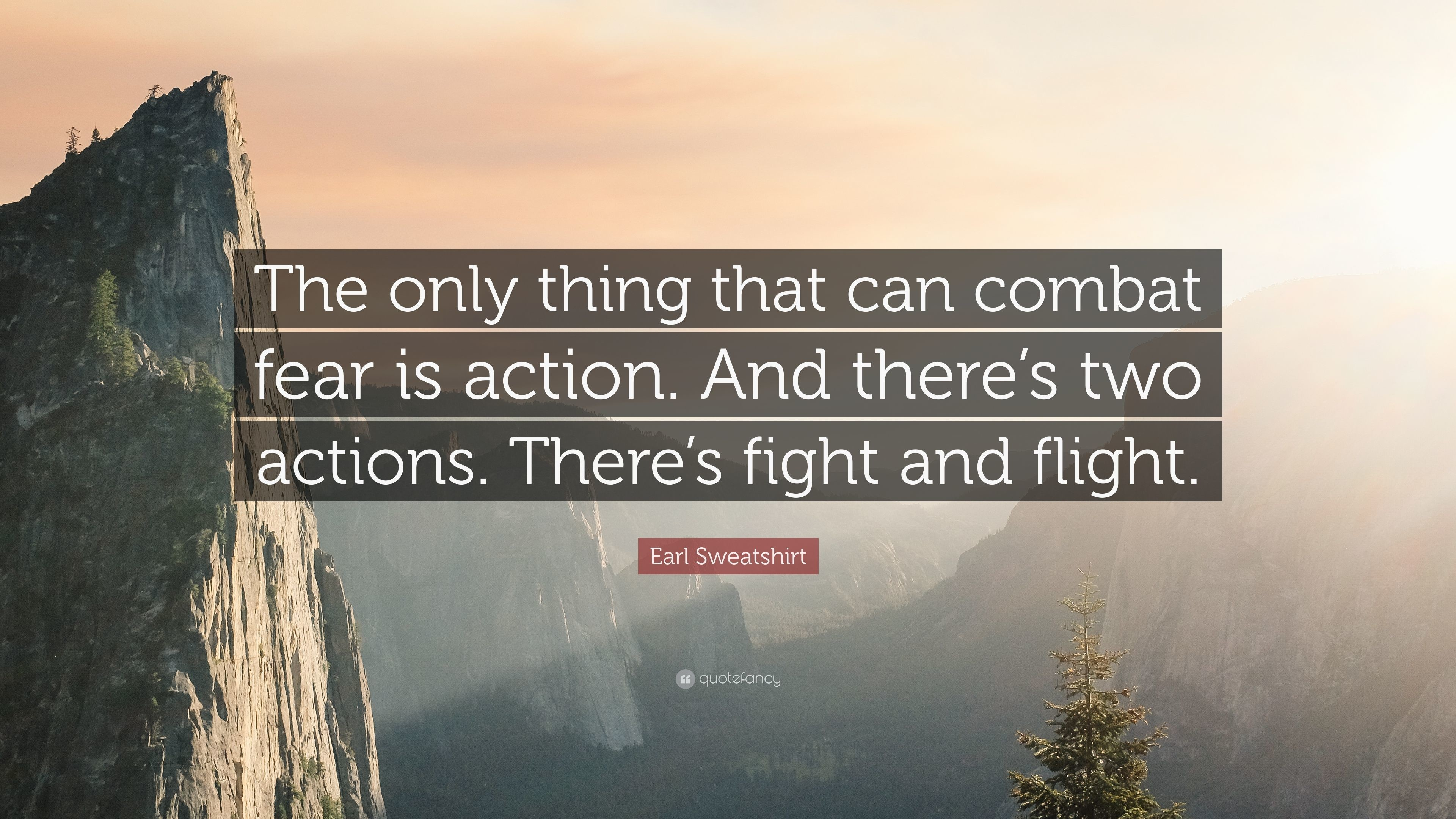 "Earl Sweatshirt Quote: ""The only thing that can combat fear is action. And"