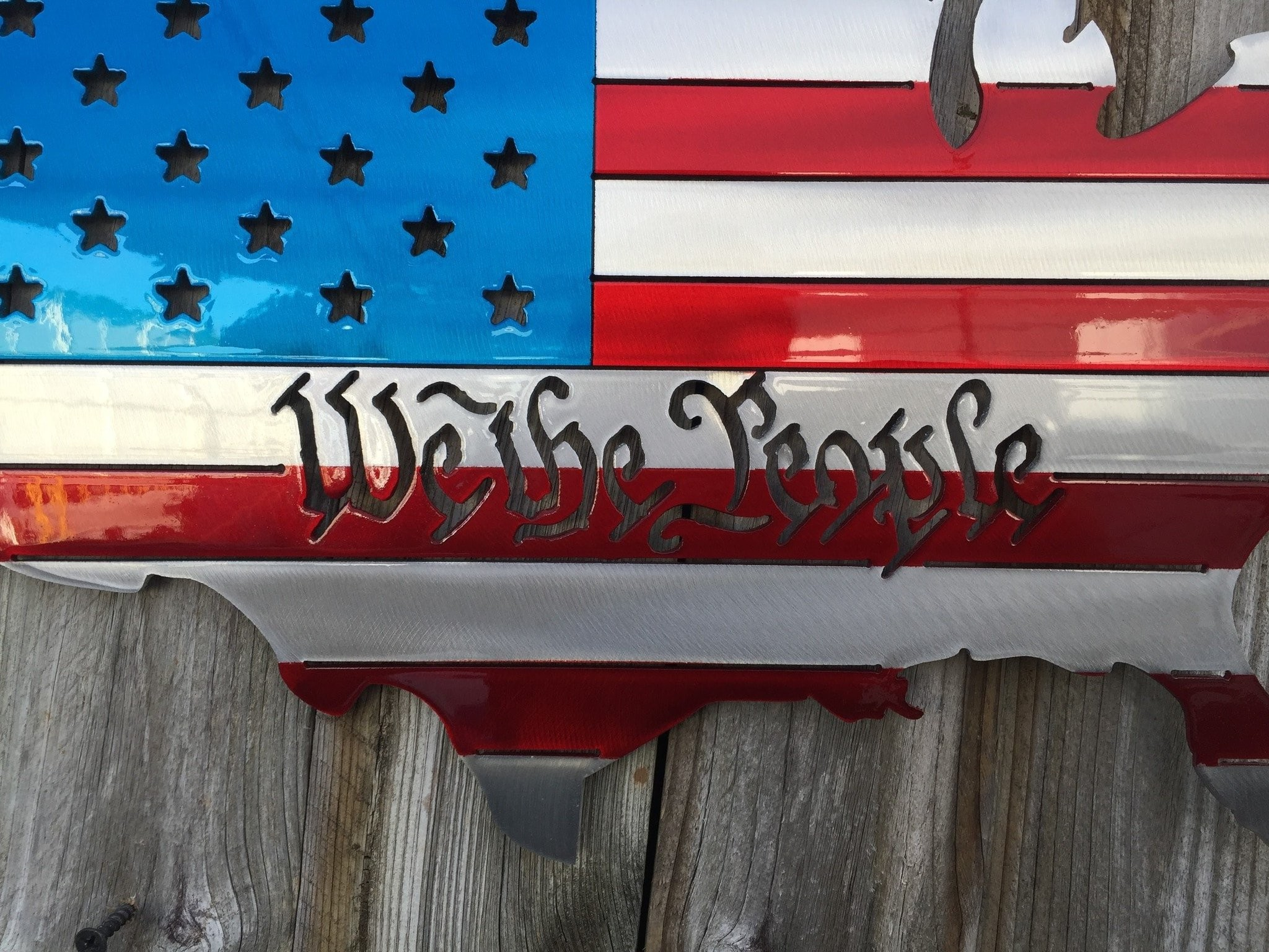 We the People USA Map as an American Flag metal art