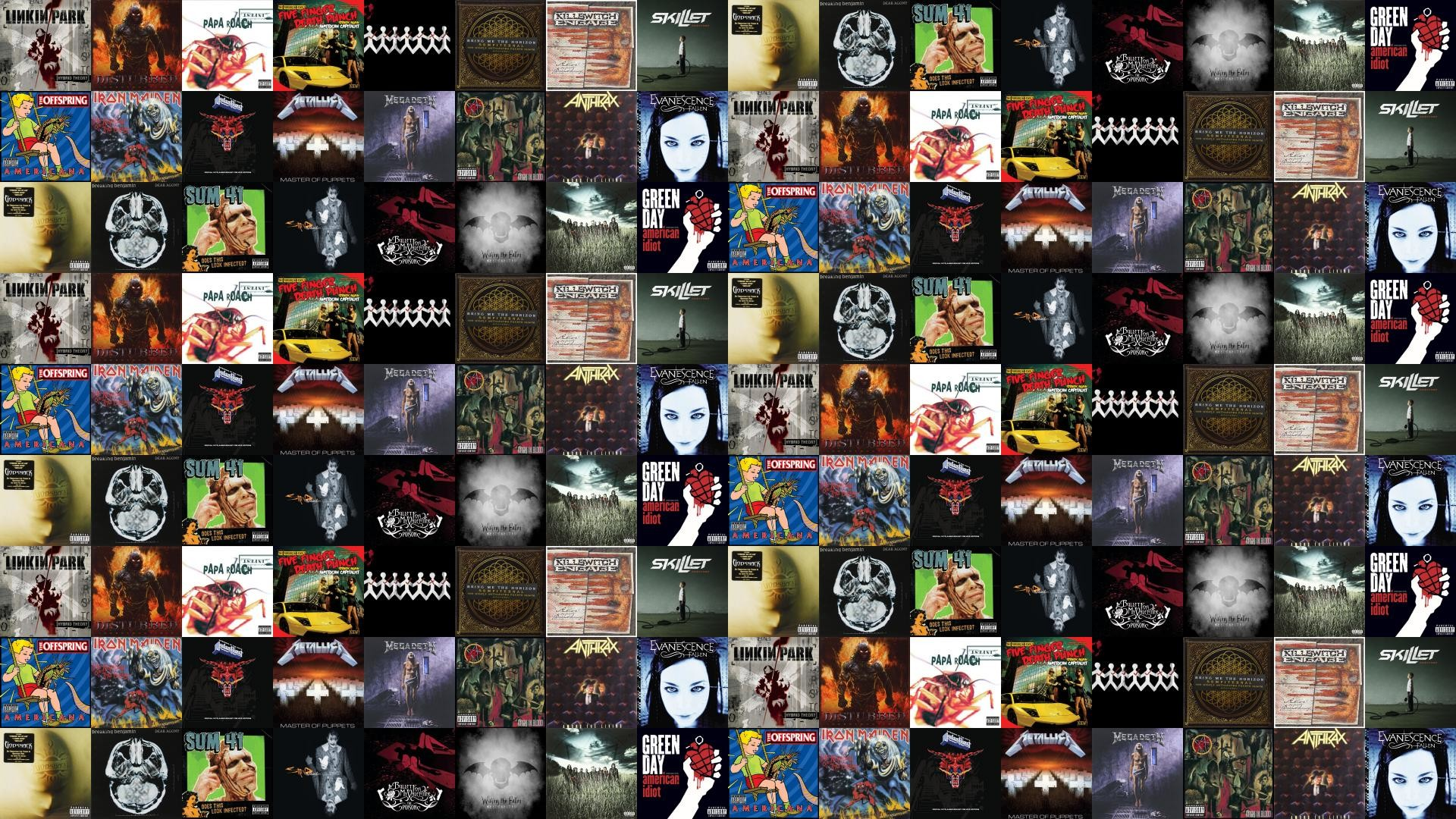 Download this free wallpaper with images of Linkin Park – Hybrid Theory,  Disturbed – Indestructible, Papa Roach – Infest, Five Finger Death Punch –  American …