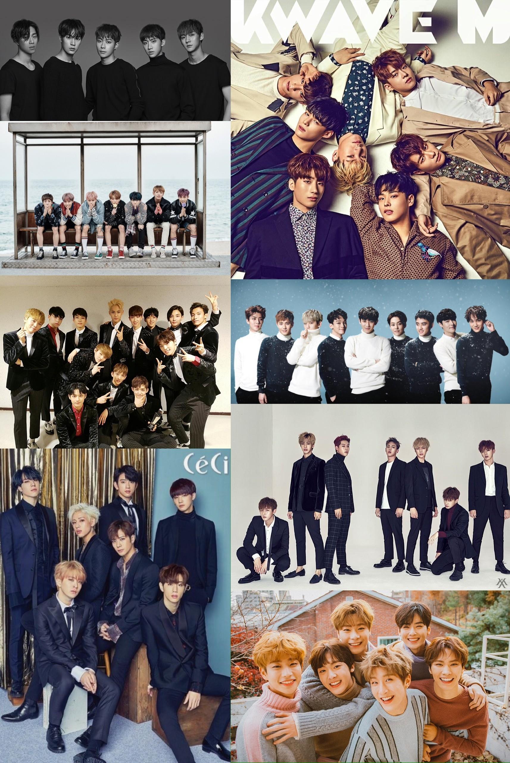 Kpop groups wallpaper. EXO, Monsta X, Victon, Got7, Seventeen, BTS