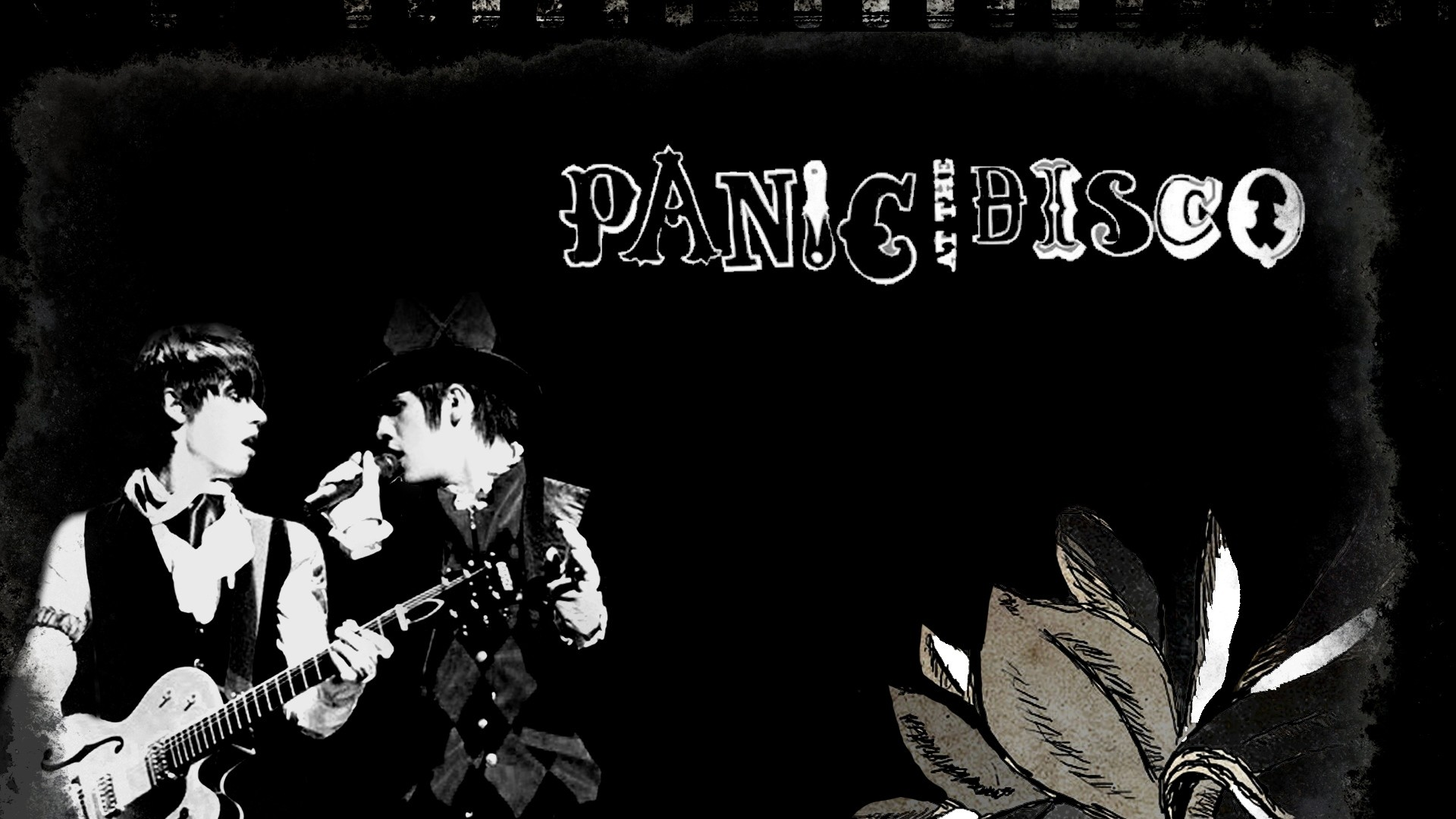 Preview wallpaper panic at the disco, band, members, action, flower  1920×1080