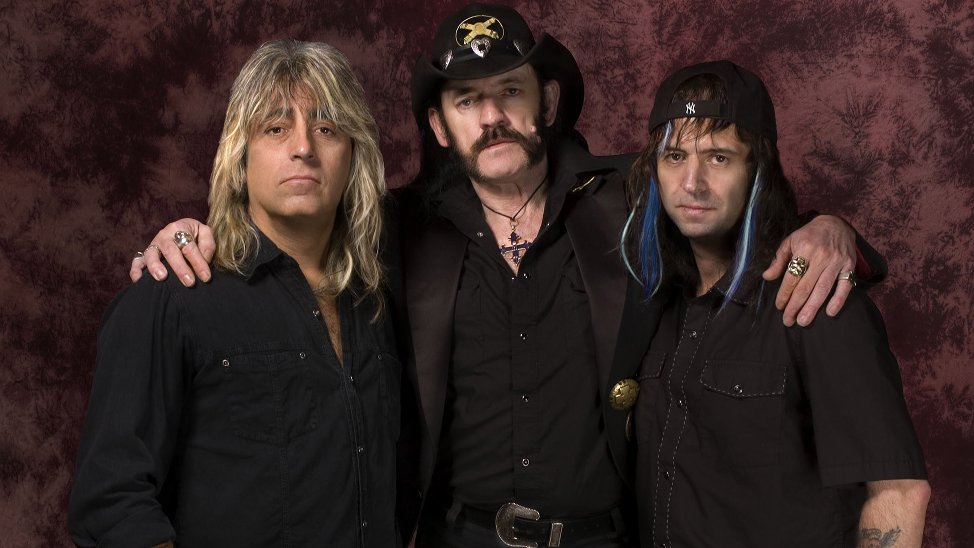 Preview wallpaper motorhead, band, members, hat, cross 1920×1080
