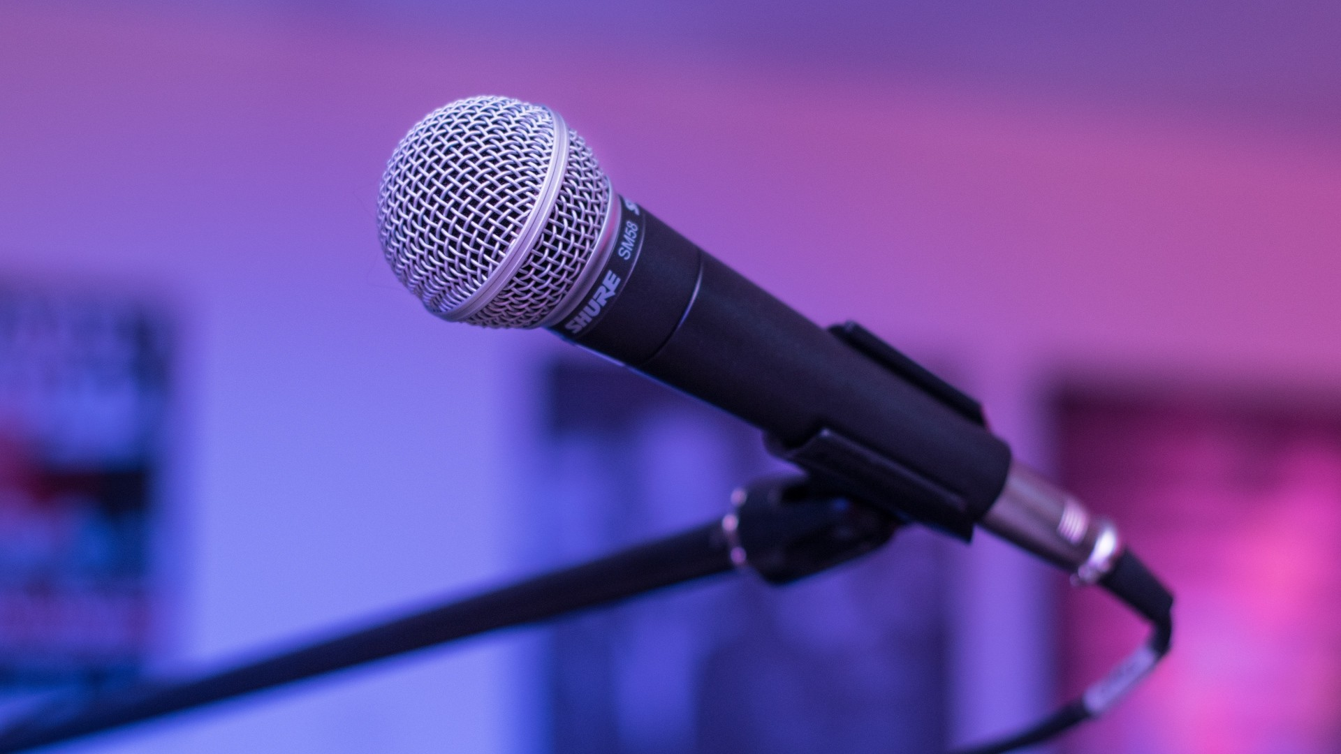 Preview wallpaper microphone, shure sm58, music 1920×1080