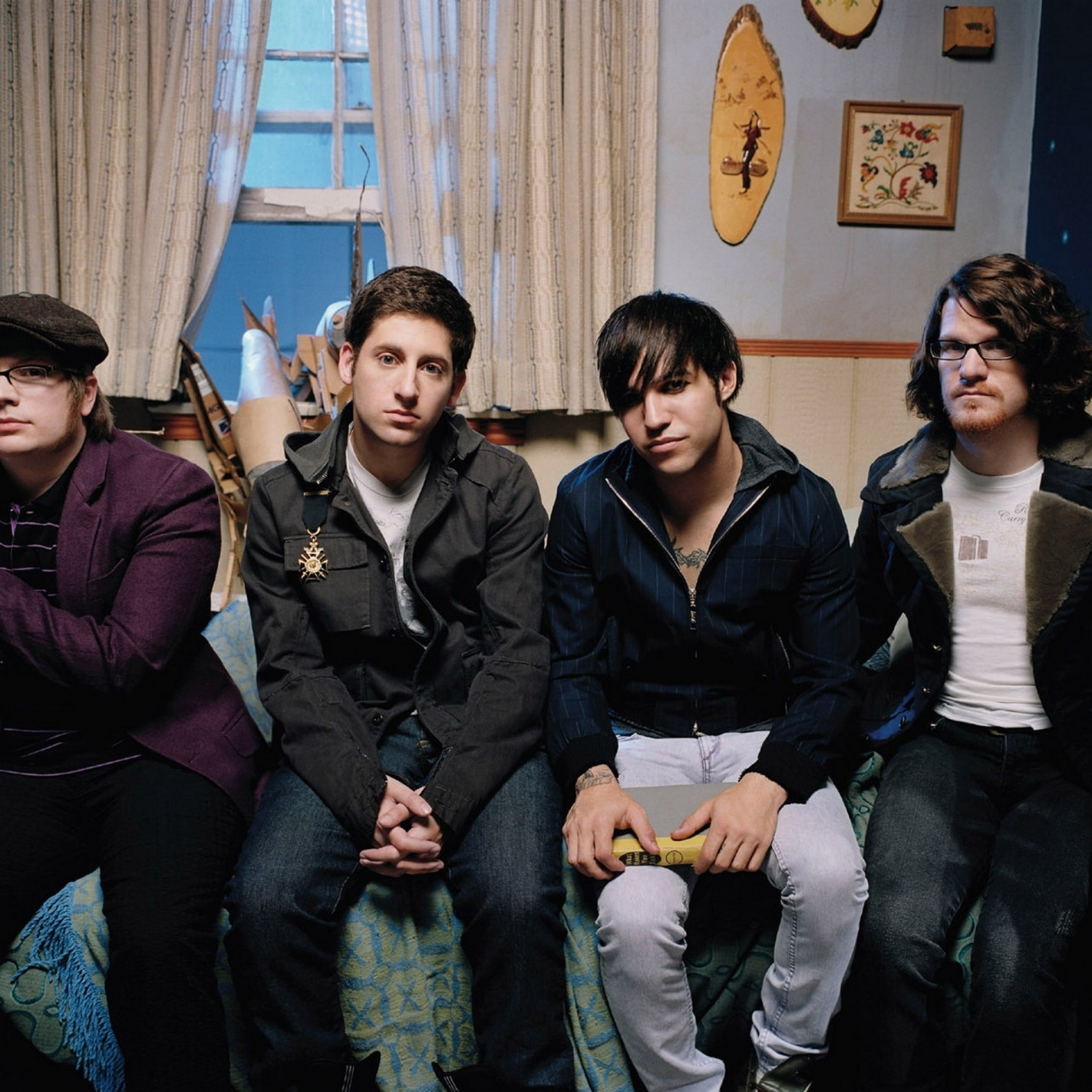 Preview wallpaper fall out boy, bedroom, bed, windows, band 2048×2048