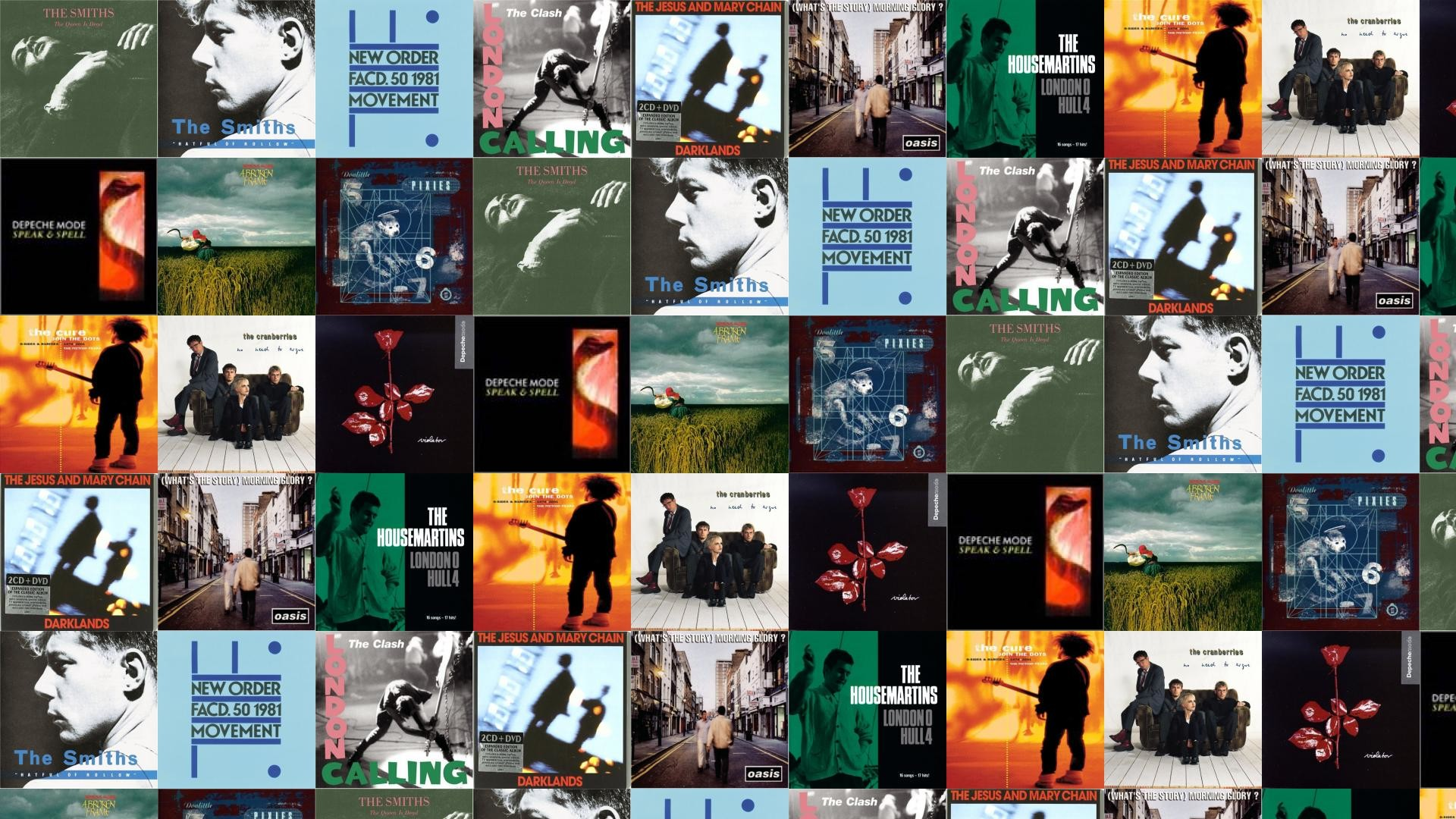 Download this free wallpaper with images of The Smiths – The Queen Is Dead, The  Smiths – Hatful Of Hollow, New Order – Movement, The Clash – London  Calling, …