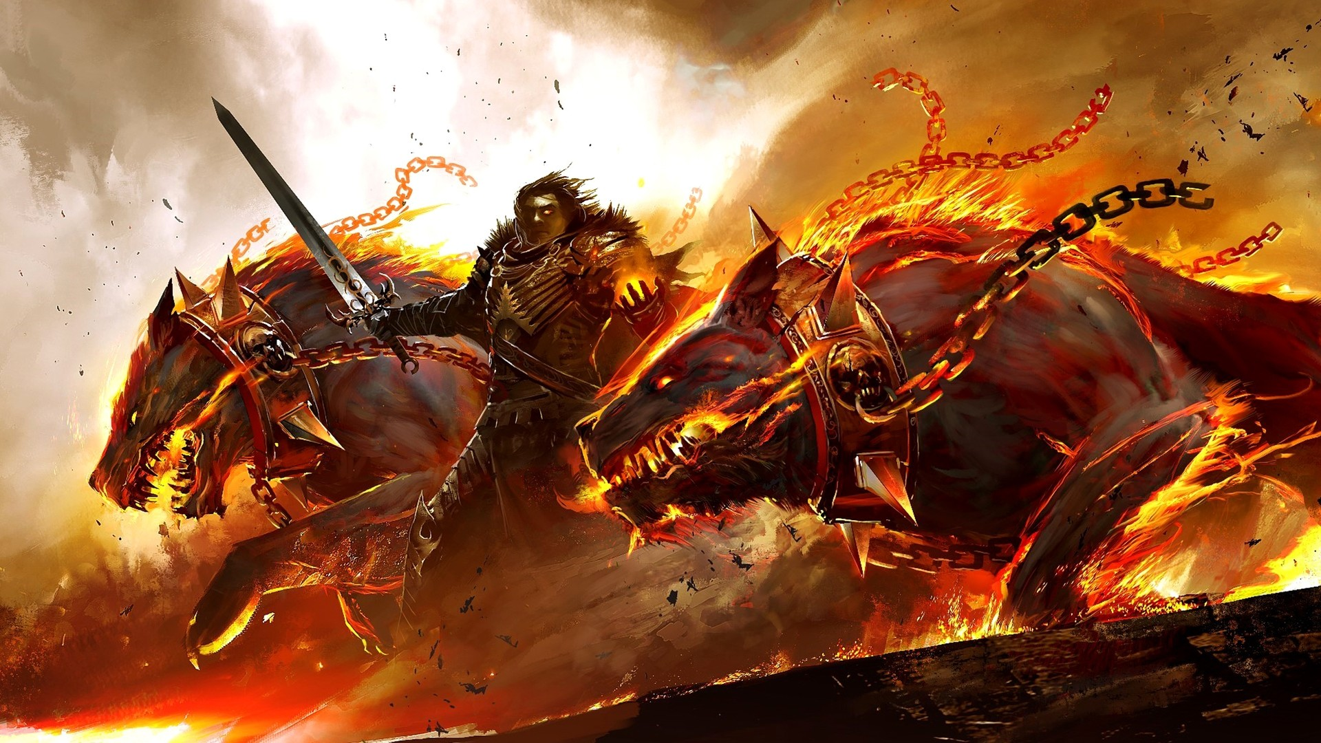 Beautiful Guild Wars Dogs Beasts Fire Chains Wallpaper Â« Kuff Games