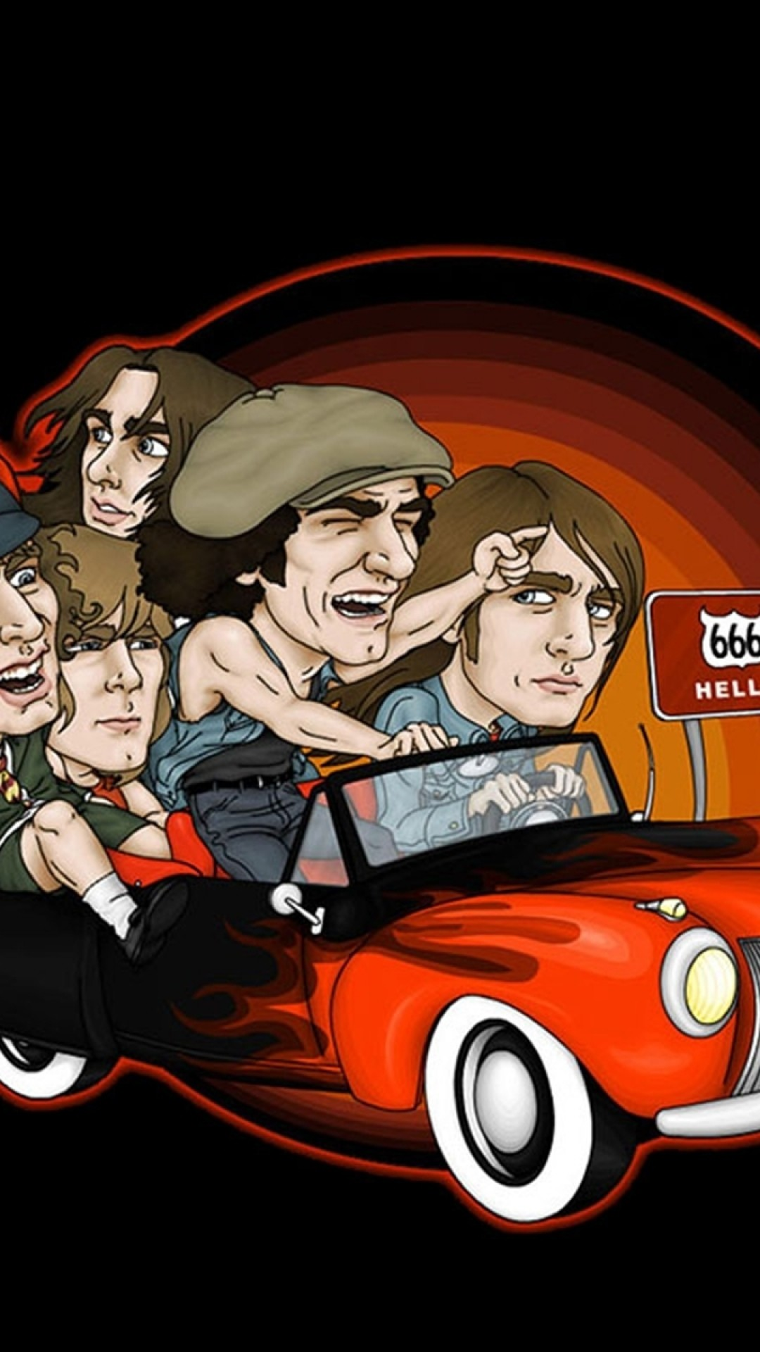 Preview wallpaper acdc, picture, car, direction, sign 1080×1920