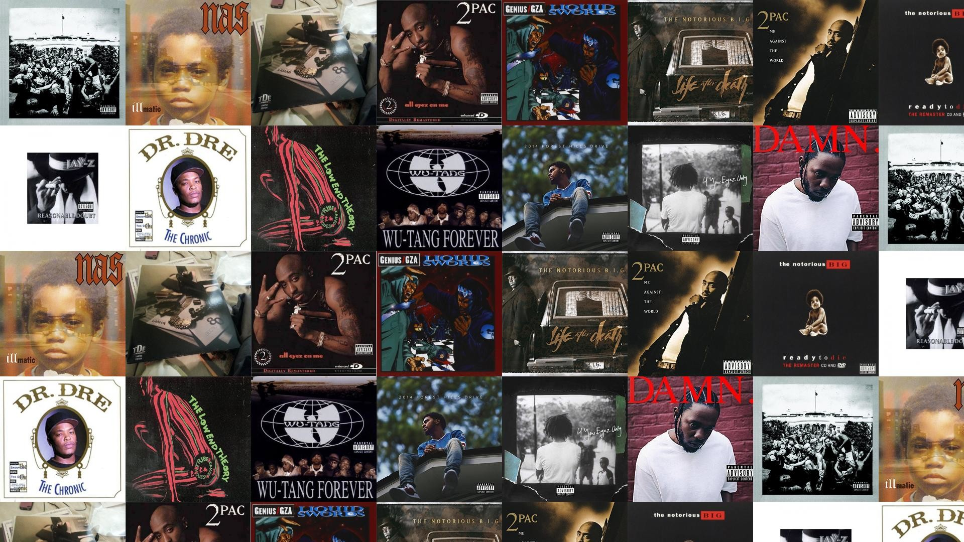 Download this free wallpaper with images of Kendrick Lamar – To Pimp A  Butterfly, Nas – Illmatic, Kendrick Lamar – Section.80, 2Pac – All Eyez On  Me …