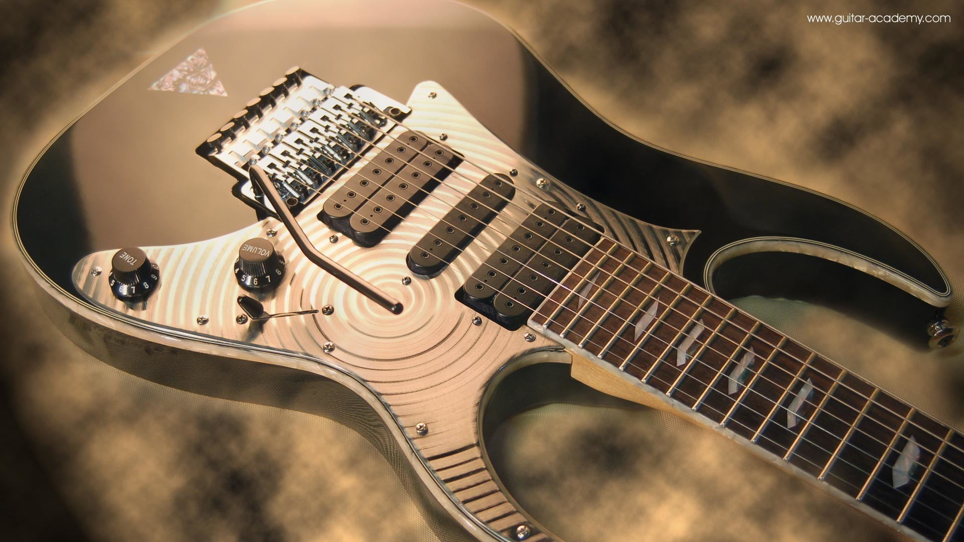 Guitar wallpaper, Ibanez Universe 7 string guitar body, custom scratchplate