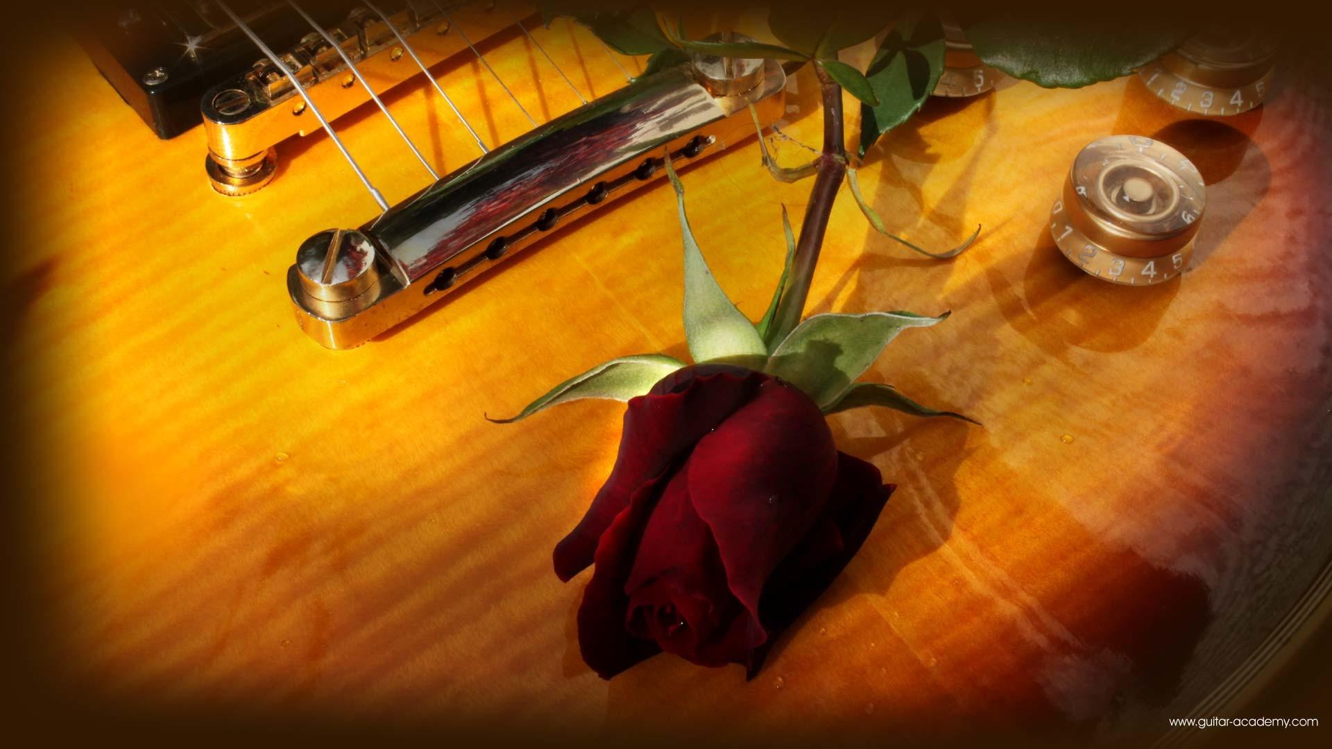 Guitar wallpaper, romantic looking Gibson Les Paul and red rose