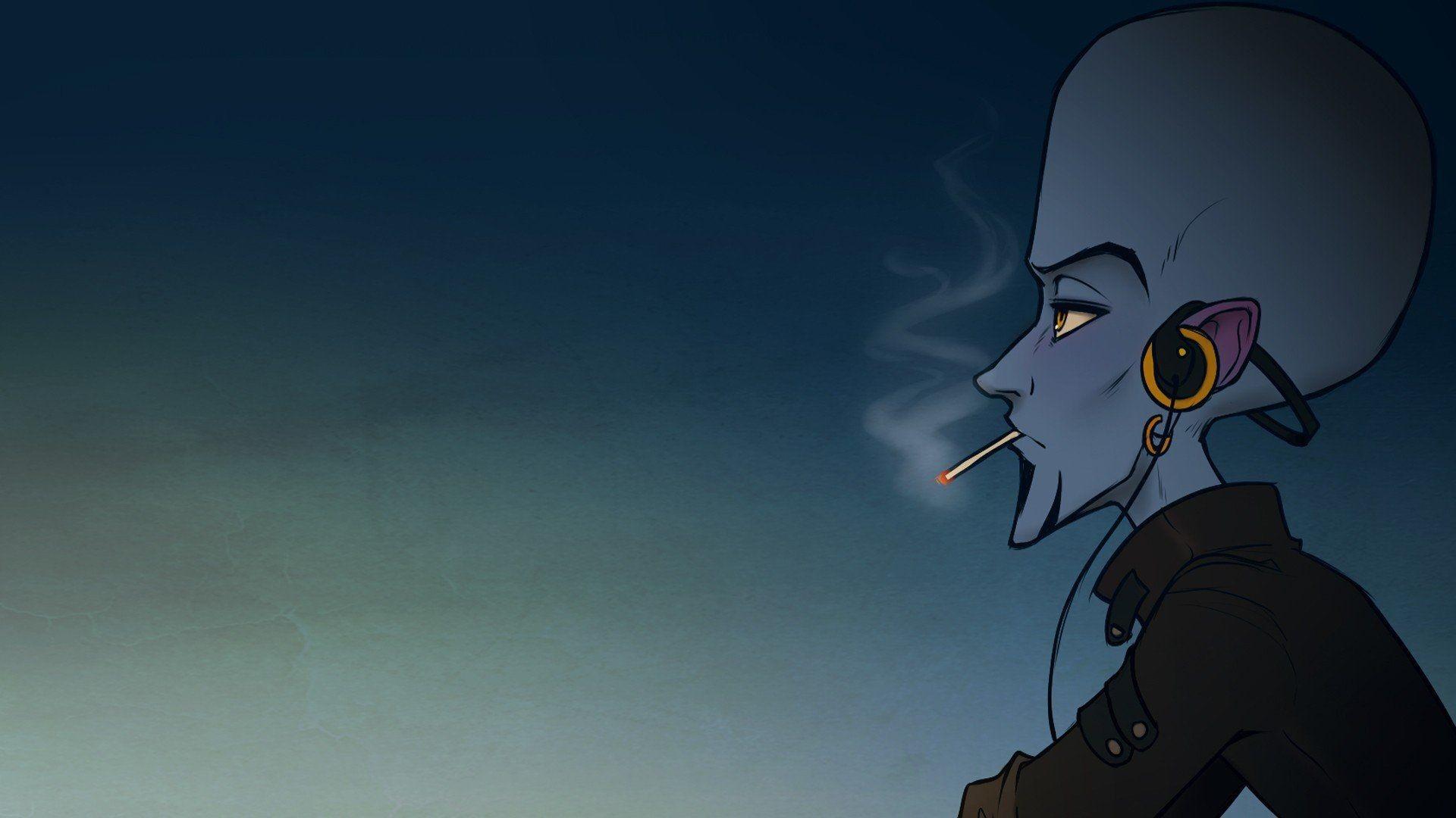 Headphones cartoons blue music smoke punk smokes Rock music .