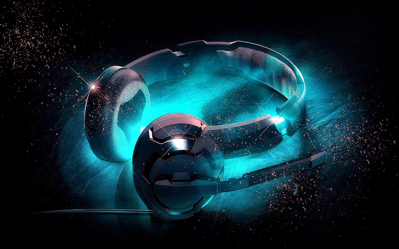 Music Headphones Digital Cgi Opus Blue Headset Headphone Wallpaper