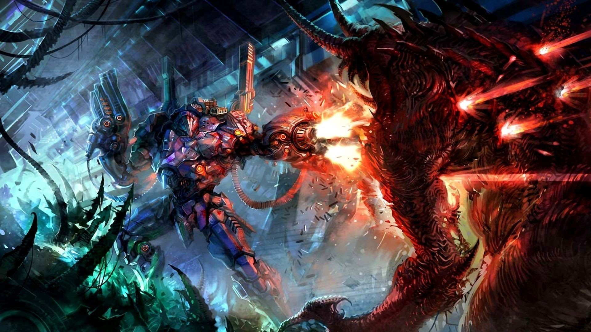 artwork, Fantasy Art, Concept Art, Robot, Demon, Mech Wallpapers HD /  Desktop and Mobile Backgrounds