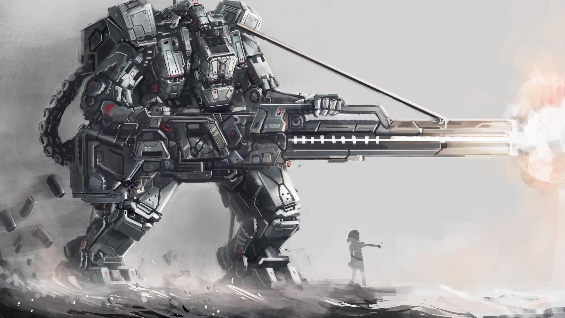 Download Wallpaper Art, Osama, Robot, Giant, Guns .