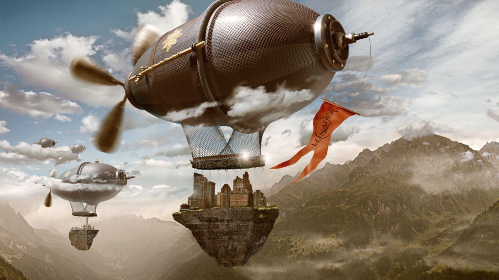 Steampunk mechanical ships aircrafts airplane flight cities islands  wallpaper | | 62299 | WallpaperUP