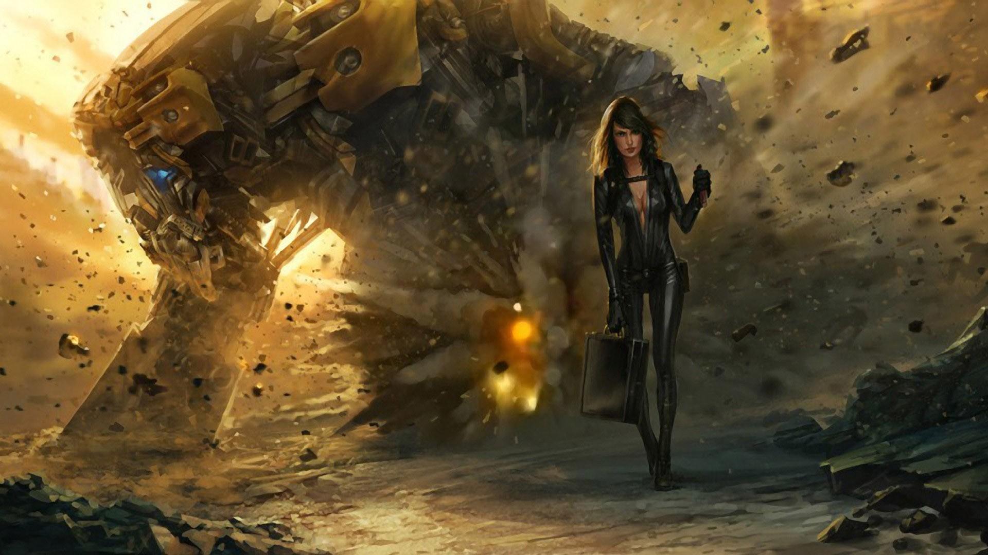 women, Robot, Destruction, Concept Art, Fantasy Art, Bodysuit, Mech