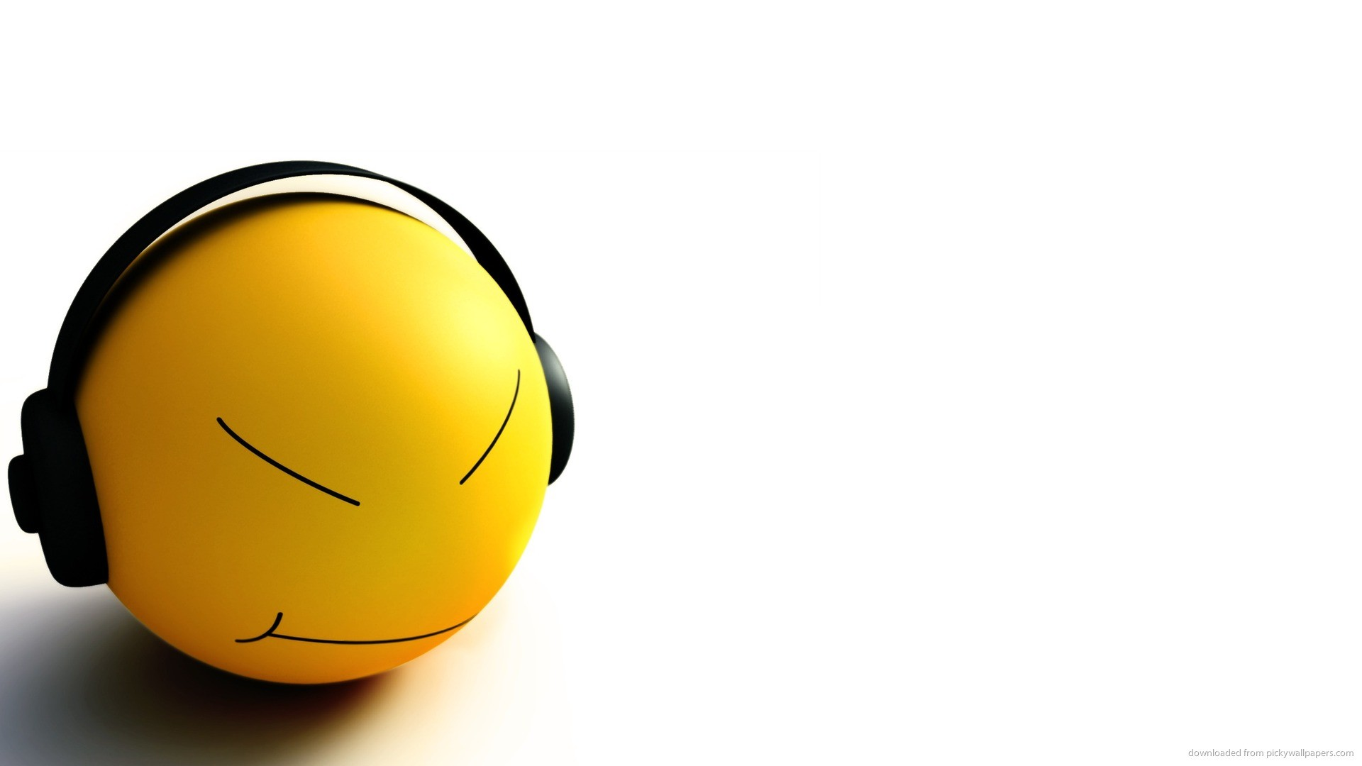 Smiley listening to music for 1920×1080