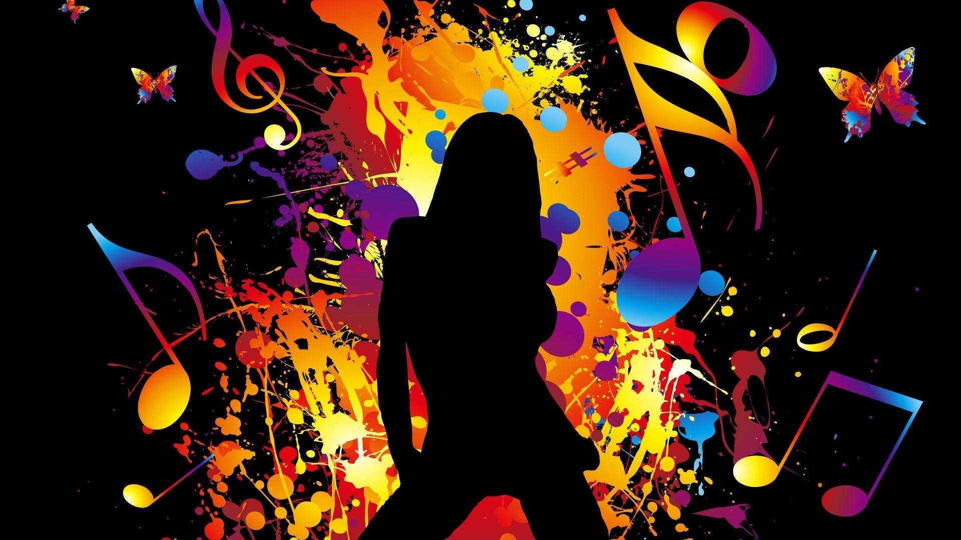 Colorful Vector music girl dancing Wallpaper | .