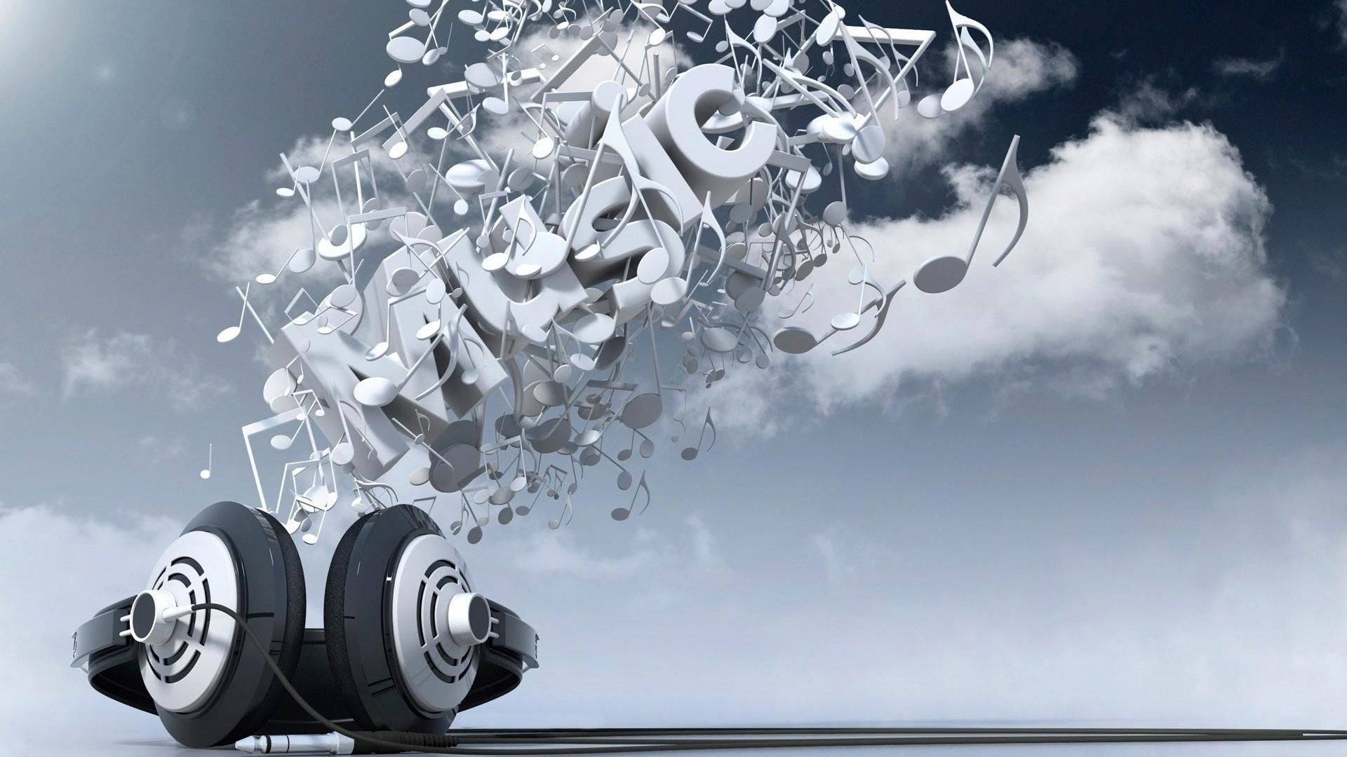 Preview wallpaper headphones, music, sky, clouds 1920×1080