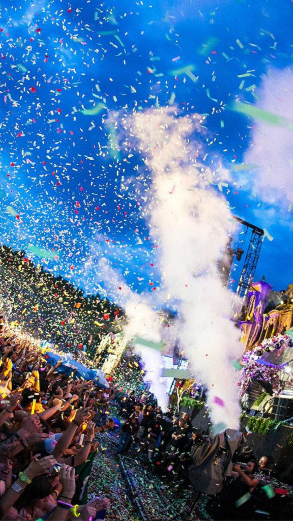 Tomorrowland Festival Concert Confetti iPhone 8 wallpaper