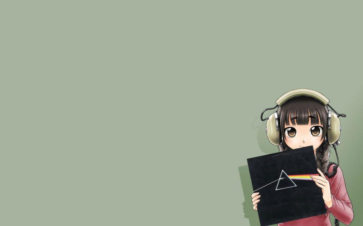 pink floyd the dark side of the moon anime girl anime album headphones  dispersion of light