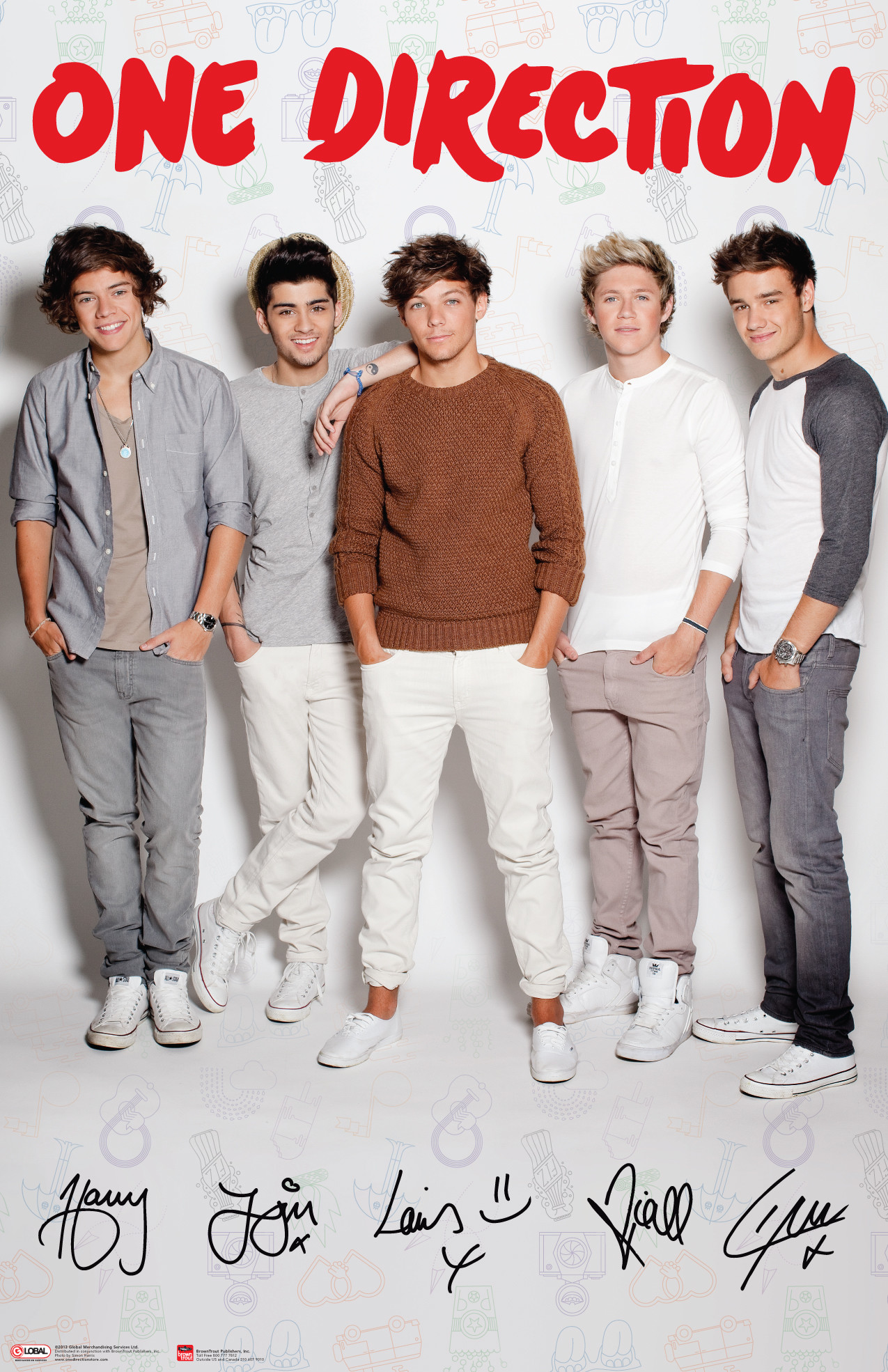 One Direction Group White Vertical Poster