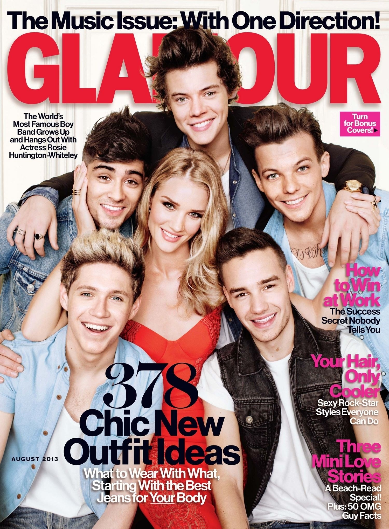FIRST LOOK: One Direction and Rosie Huntington-Whiteley Star on the Cover  of Glamour's August Music Issue! | Glamour