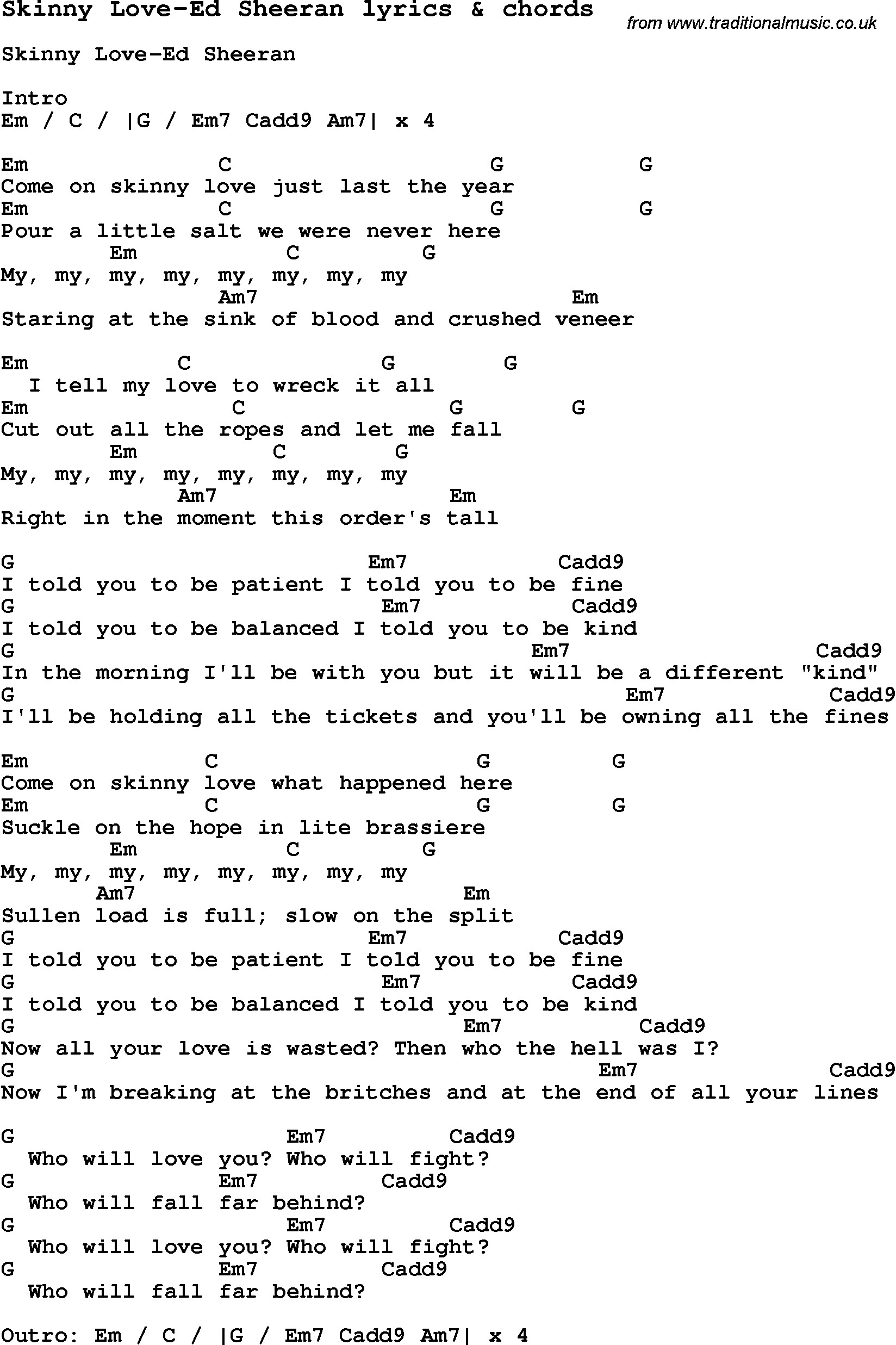 Love Song Lyrics for: Skinny Love-Ed Sheeran with chords for Ukulele, Guitar