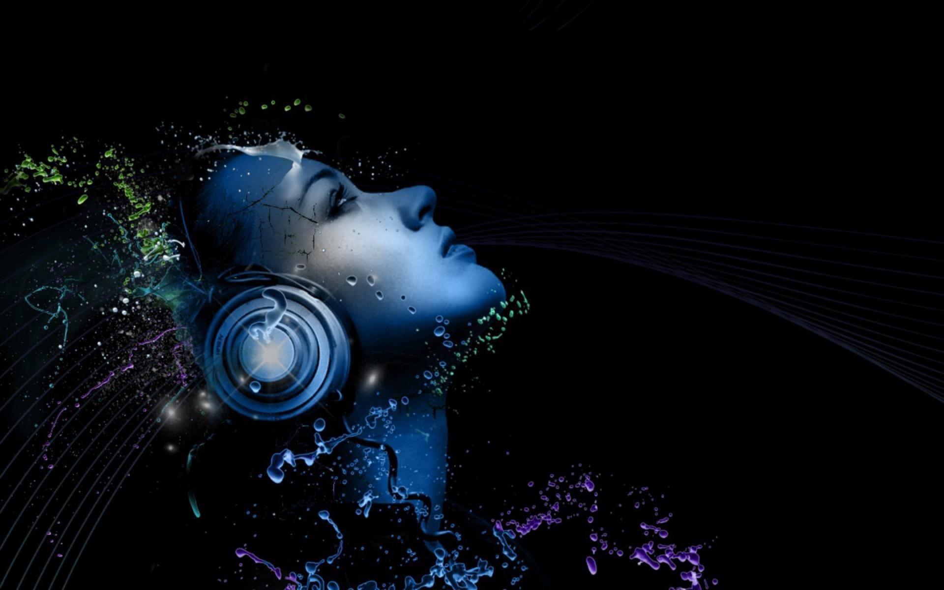 wallpaper headphones light music images 1920×1200