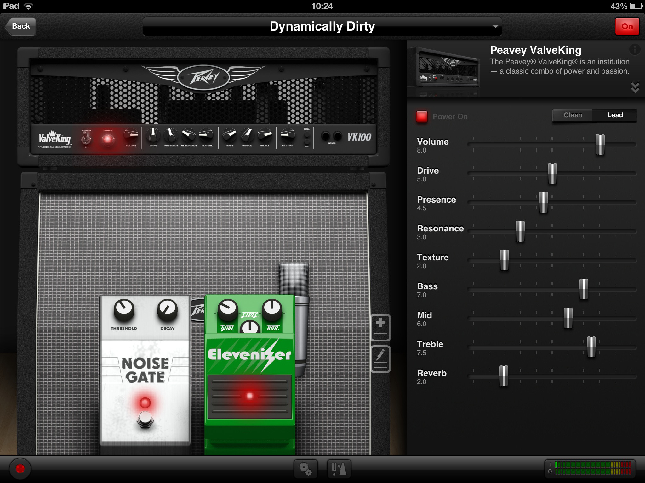 AmpKit's main tone tweaking screen on the iPad – not too scary for  technophobic guitar players