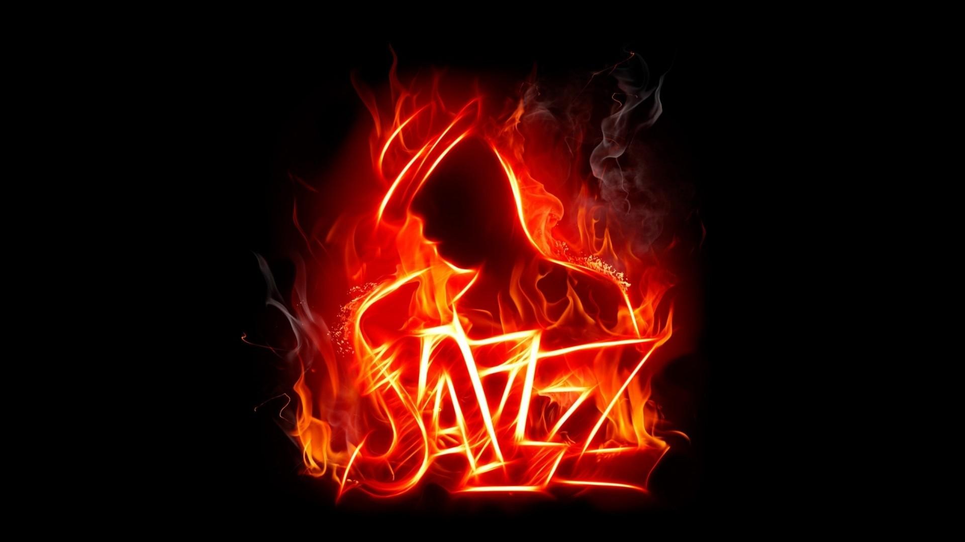 Preview wallpaper jazz, music, fire, silhouette, jazzman 1920×1080