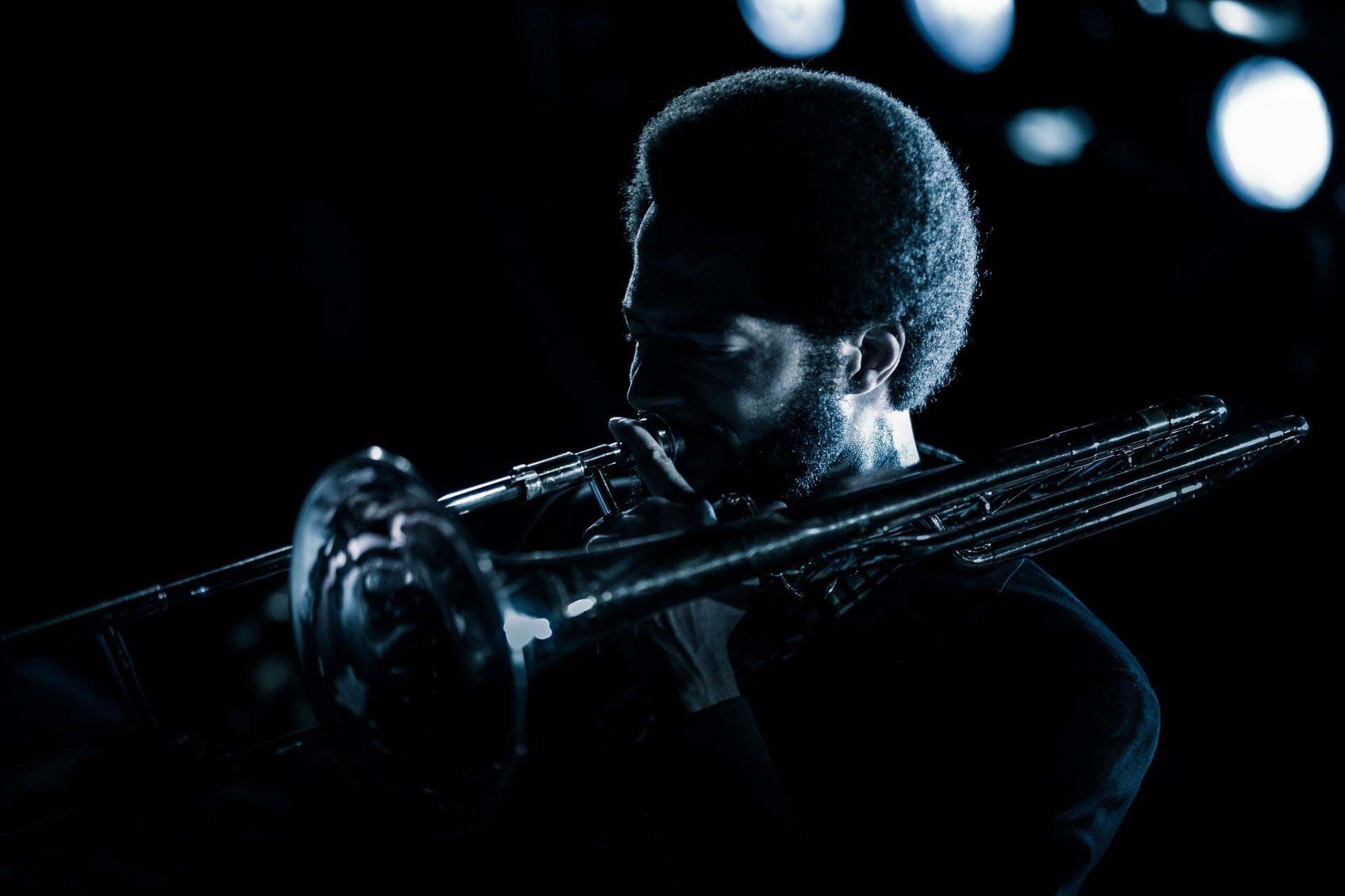 musician music trombone lights night jazz