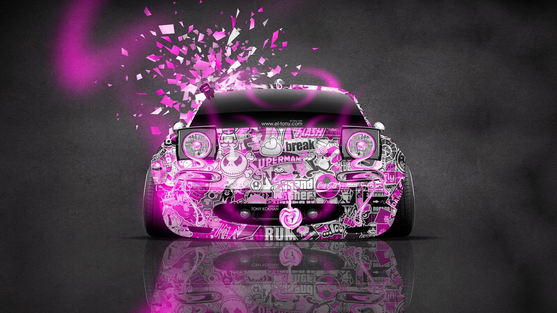 Car Mazda Design Kokhan Chemical Romance Cartoons Art Miata Front Style Pink