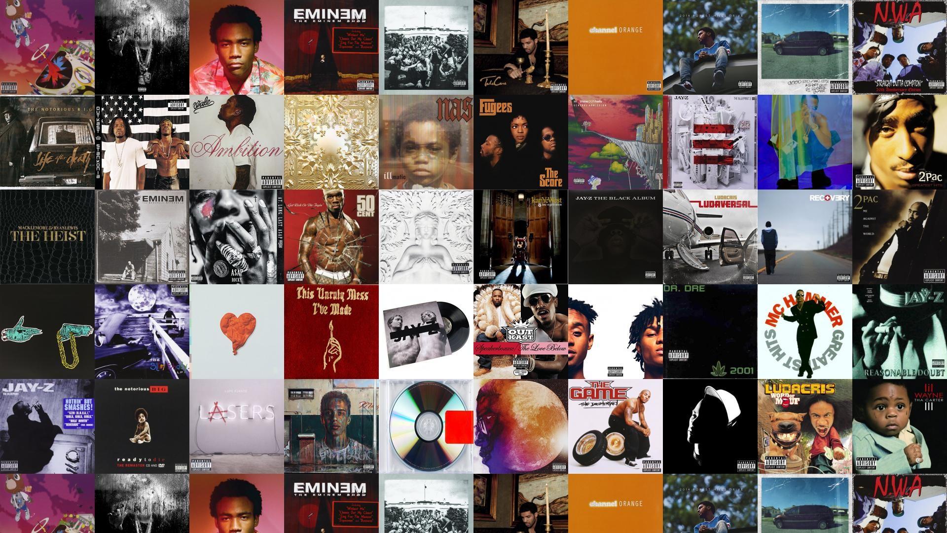 Download this free wallpaper with images of Kanye West – Graduation, Big  Sean – Dark, Childish – Because, Eminem – The Eminem Show, Kendrick – To  Pimp, …
