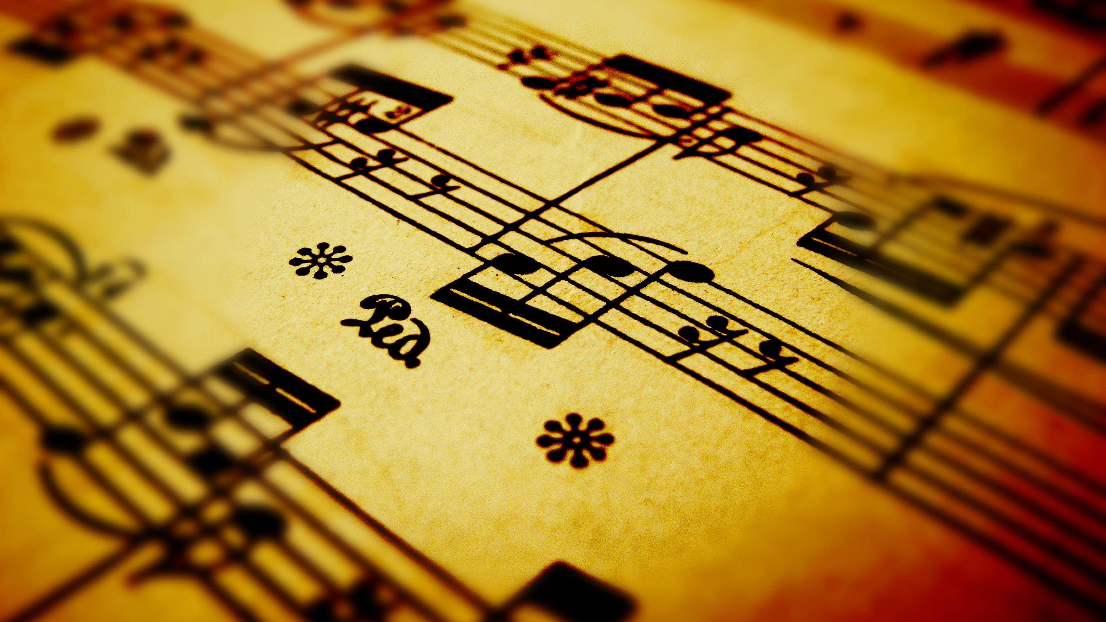 Preview wallpaper sheet music, sheet, music, drawing 3840×2160