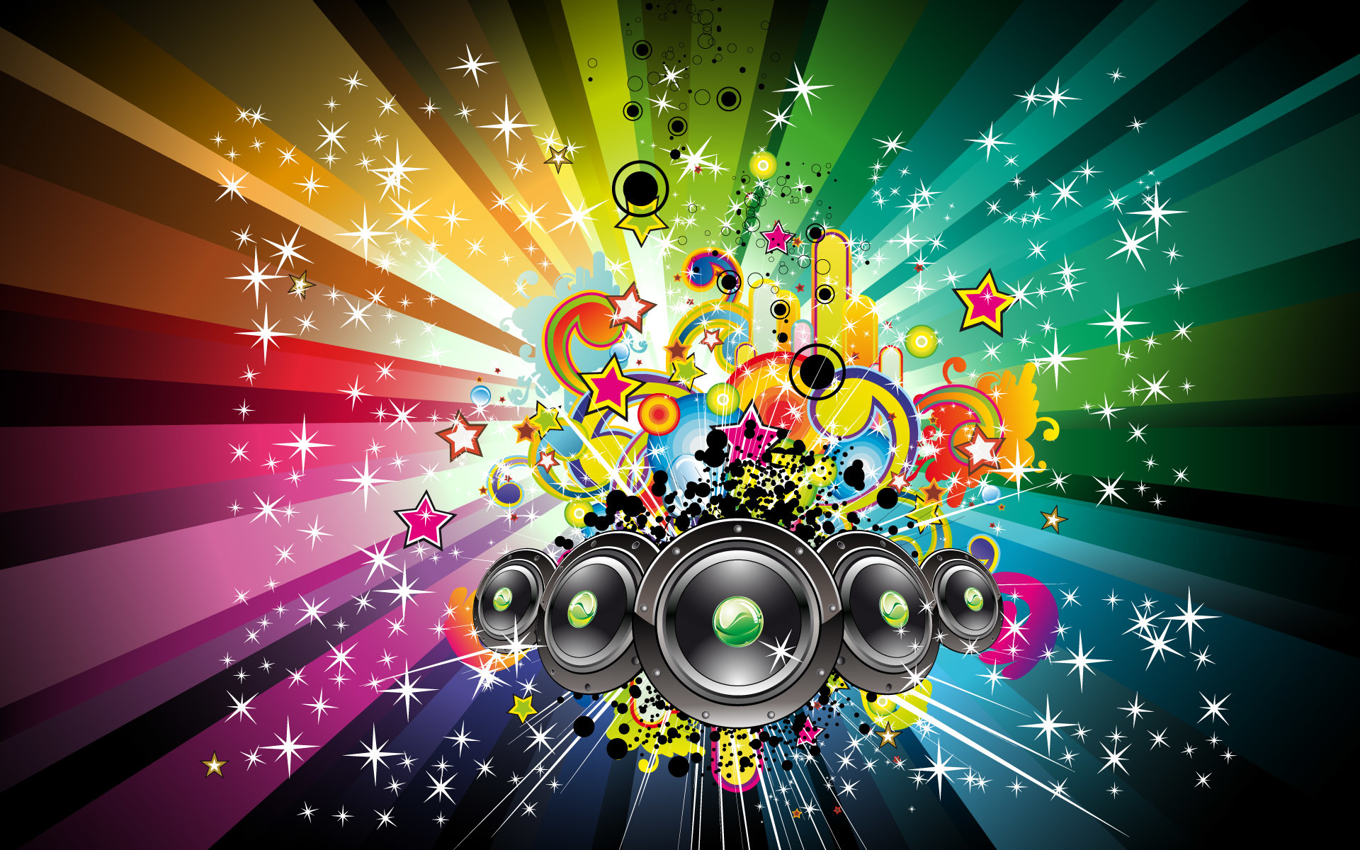 Speakers and rainbow shapes wallpaper – 510170