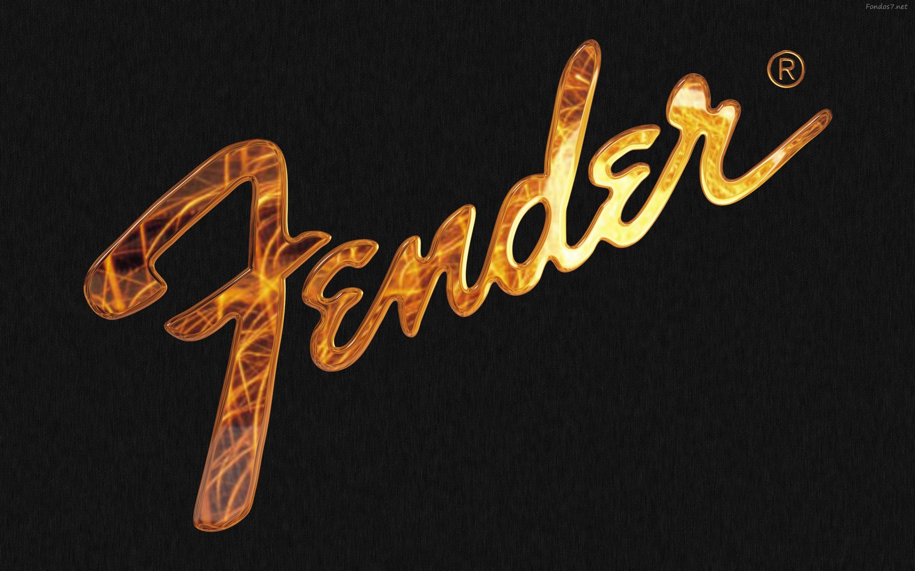 Fender Text Black Wallpaper HD Widescreen